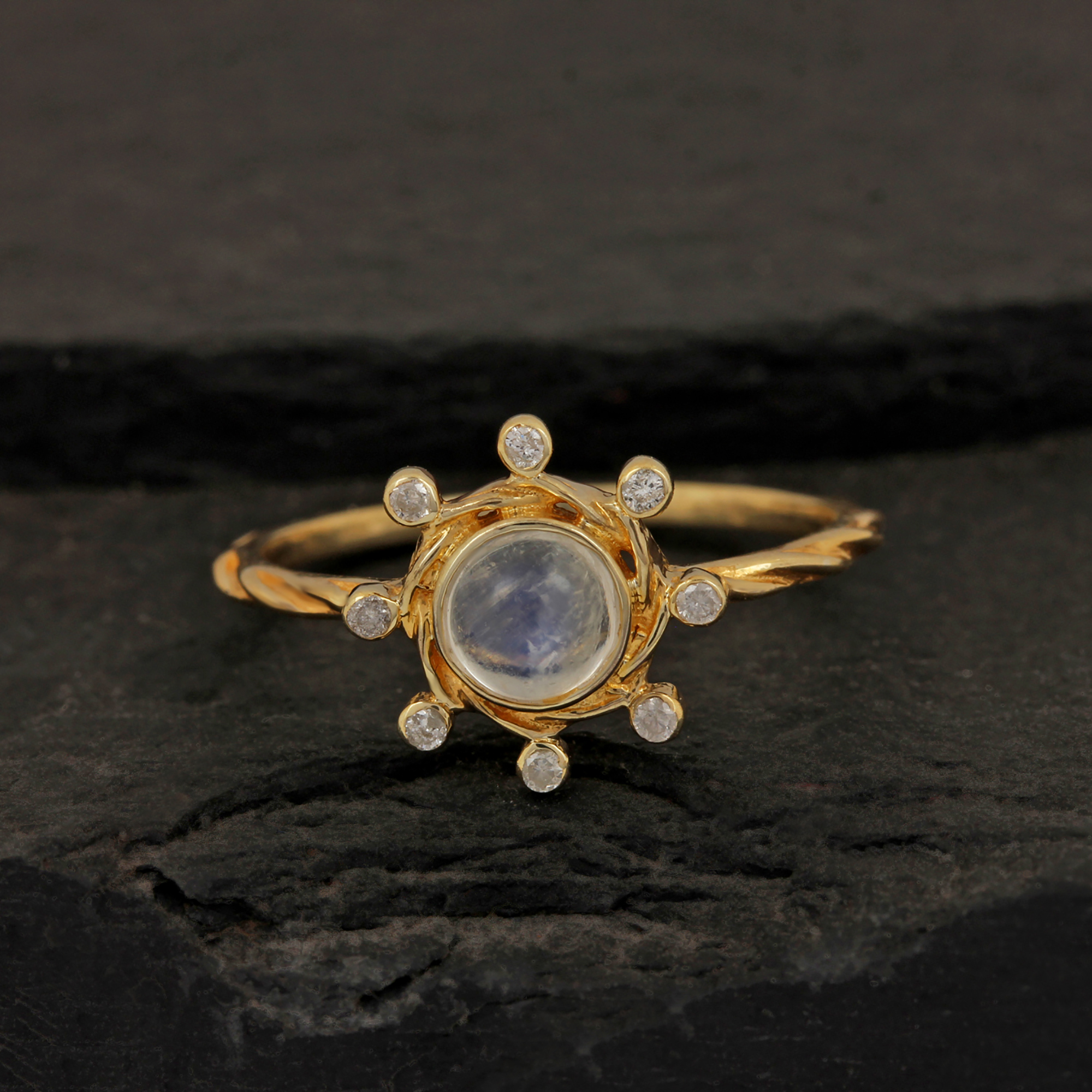 Solitaire Moonstone Ring 14k Solid Gold Diamond Fine Jewelry