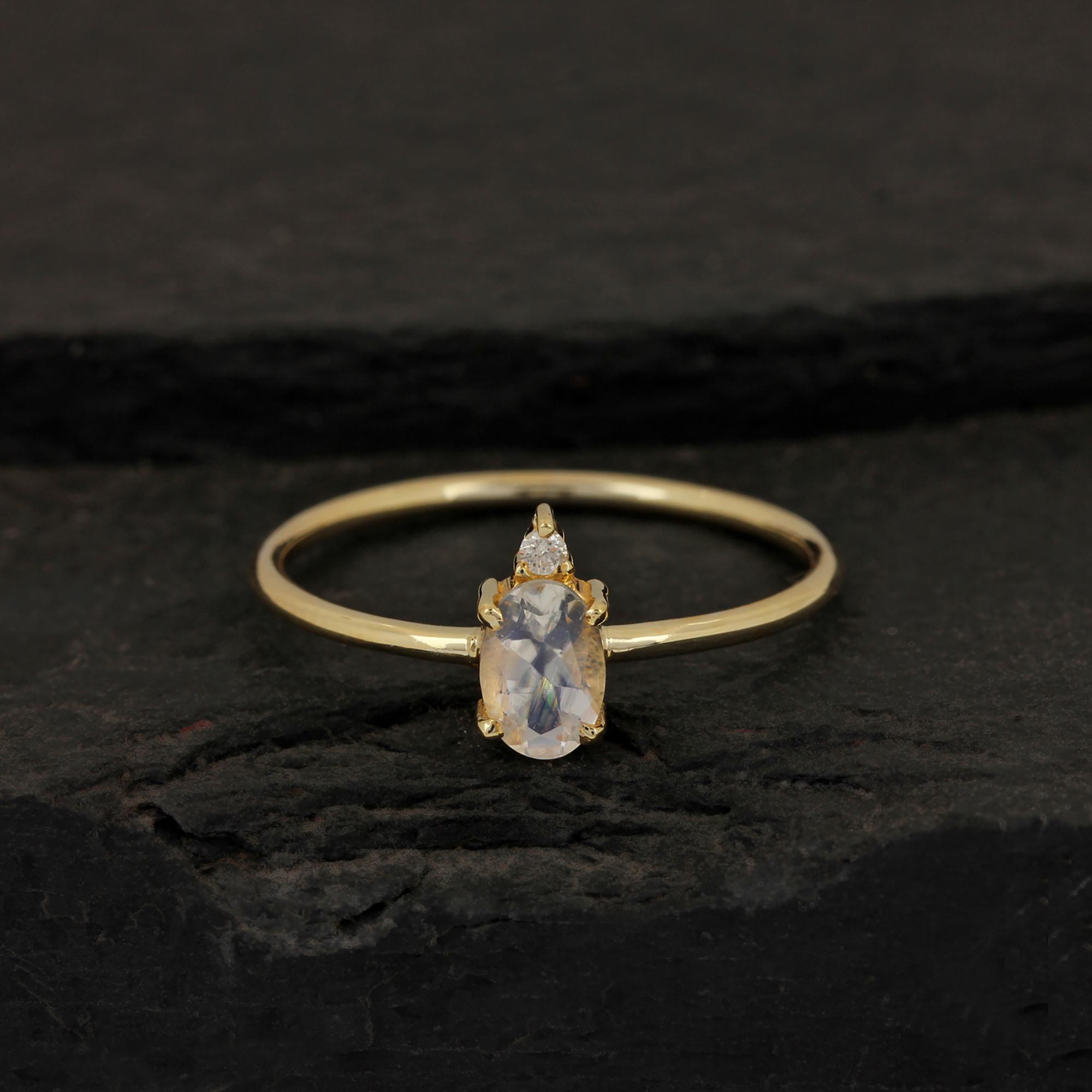 Rainbow Moonstone Ring 14k Gold Diamond Jewelry
