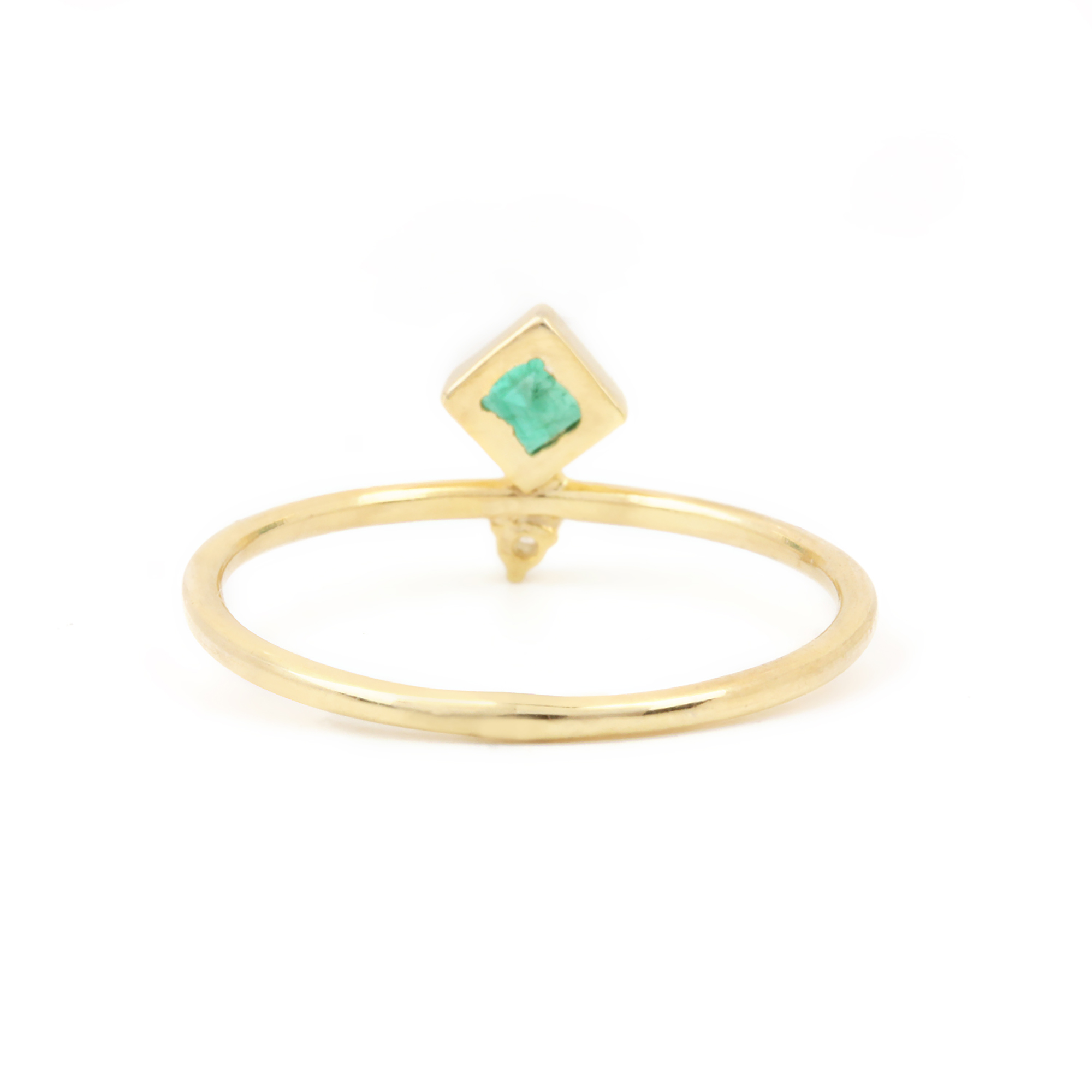 14k Solid Yellow Gold Diamond Emerald Ring Fine Jewelry