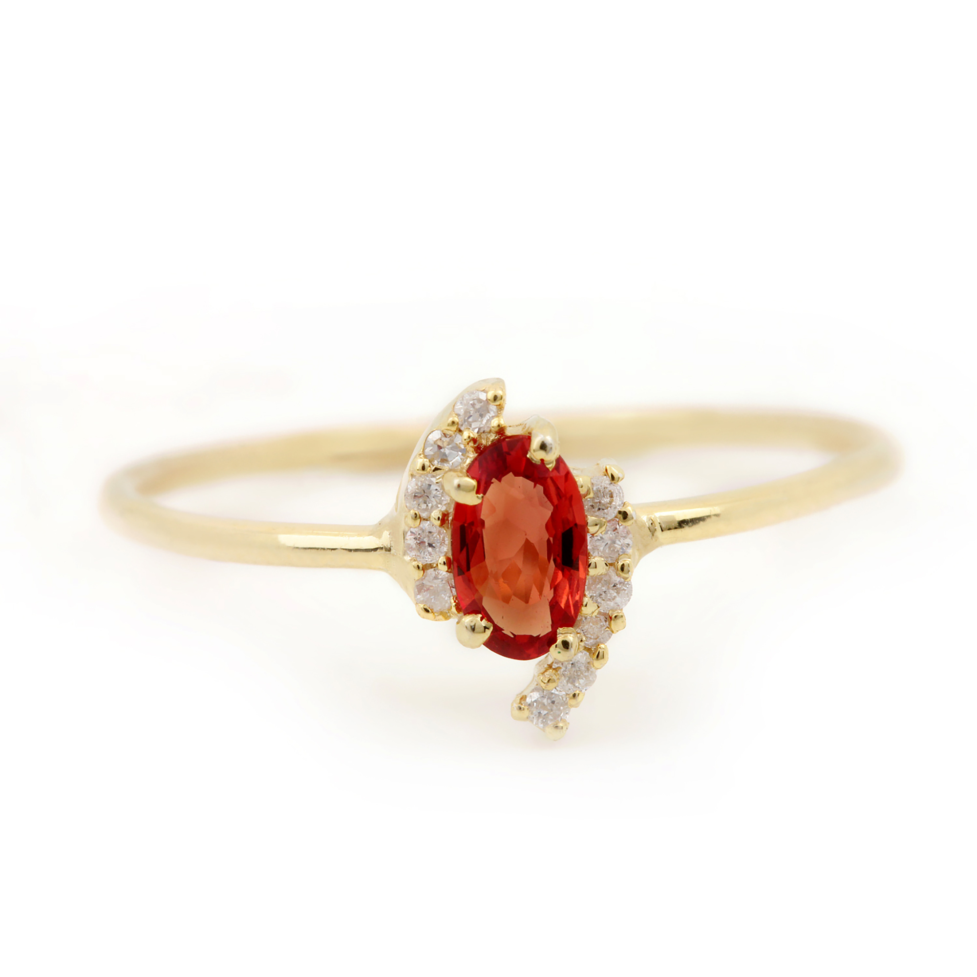 14k Solid Gold Diamond Orange Sapphire Ring Fine Jewelry