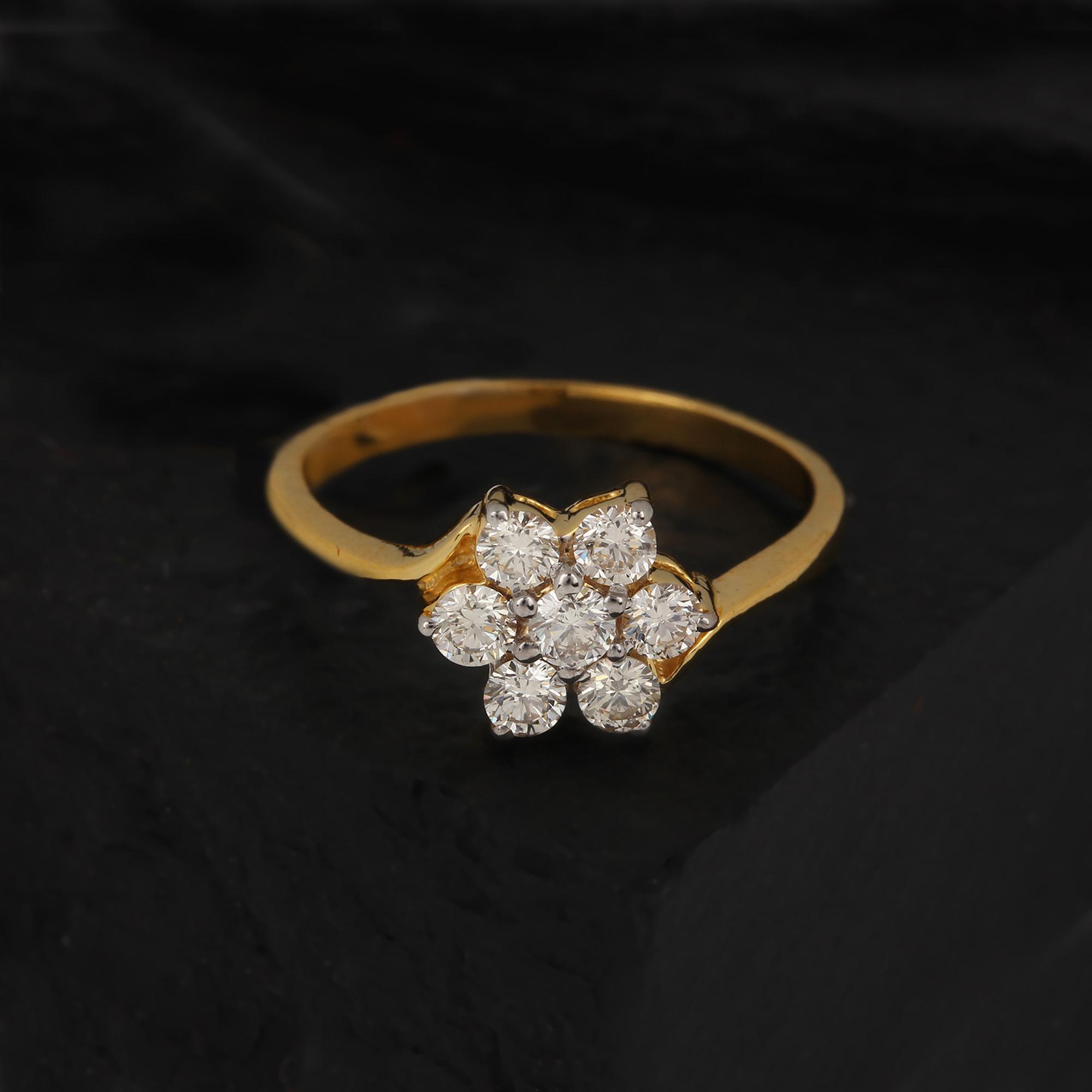 Flower Designed Gold Diamond Ring