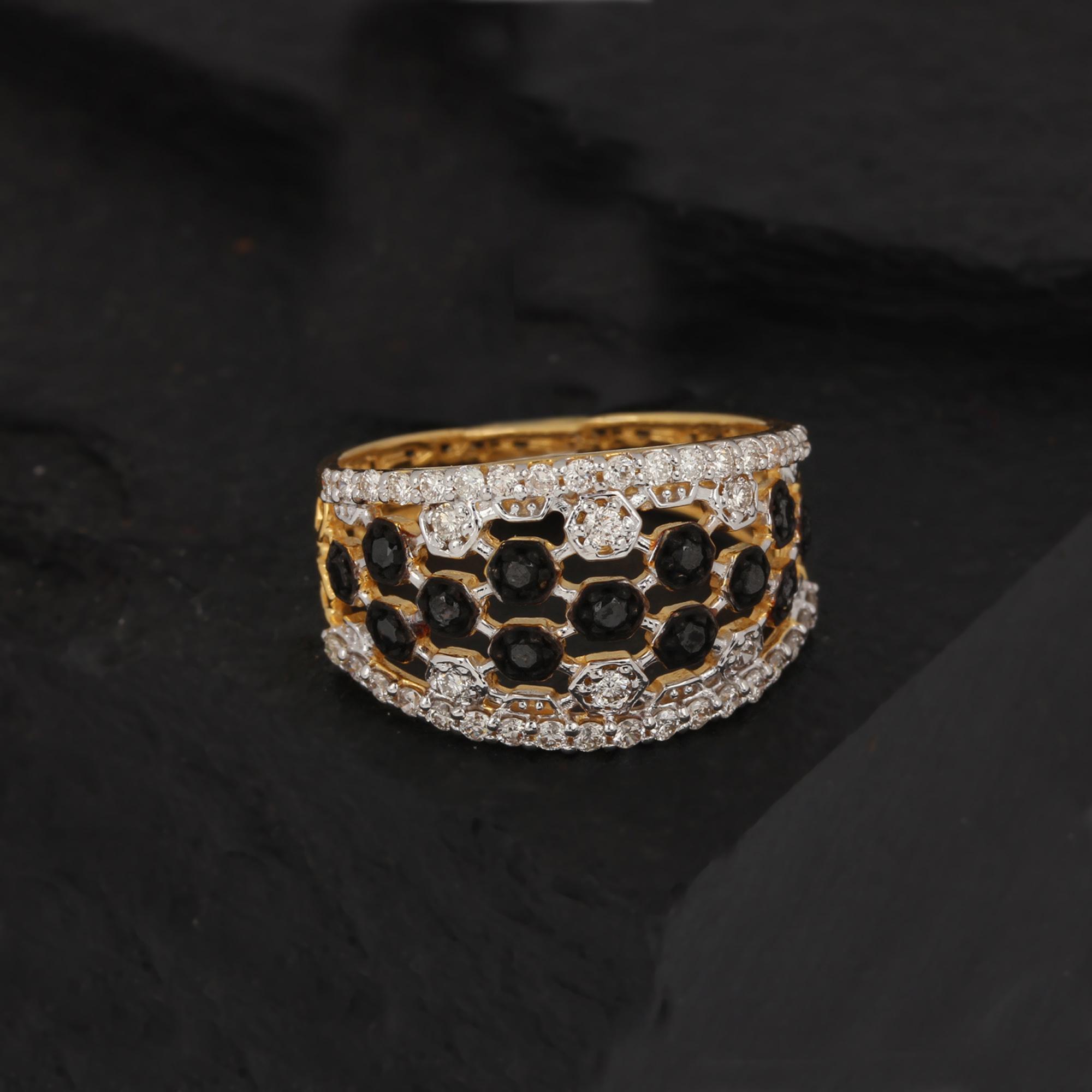 Black Diamond Gold Ring