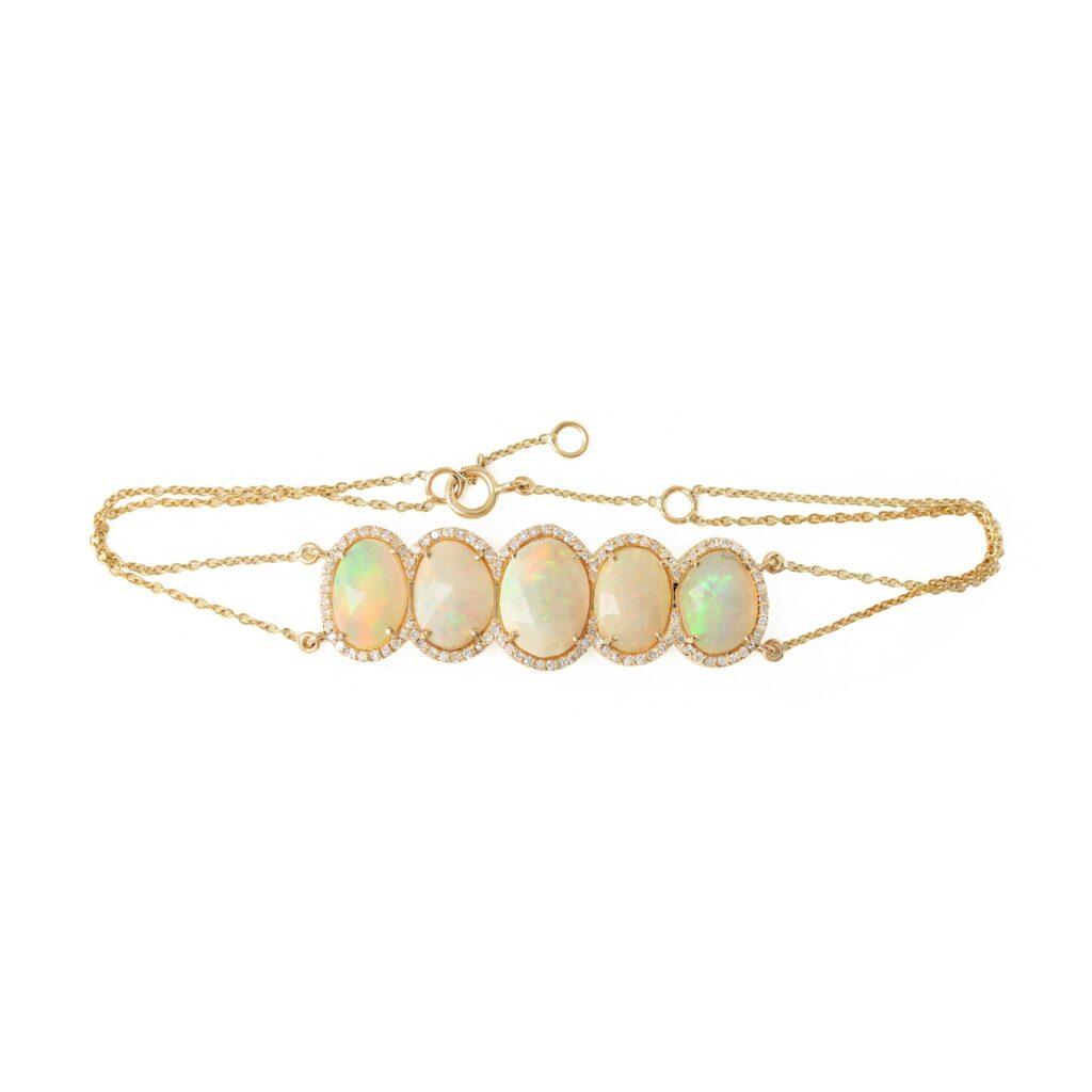 Opal Gemstone Pave Diamond Chain Bracelet Solid 14k Gold Jewelry