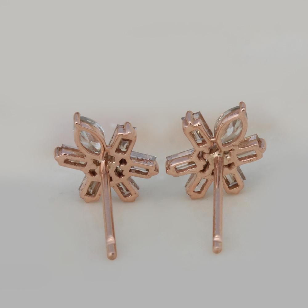 14K Solid Gold Natural Diamond Stud Earrings