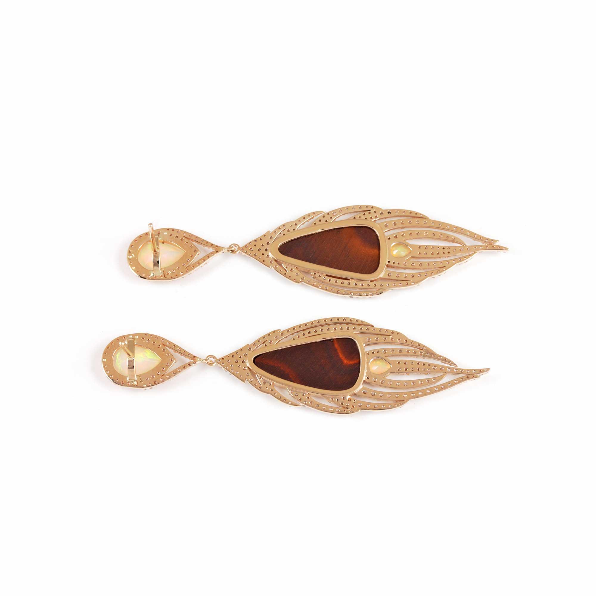 Opal Pave Diamond 14K Solid Gold Dangle Earrings