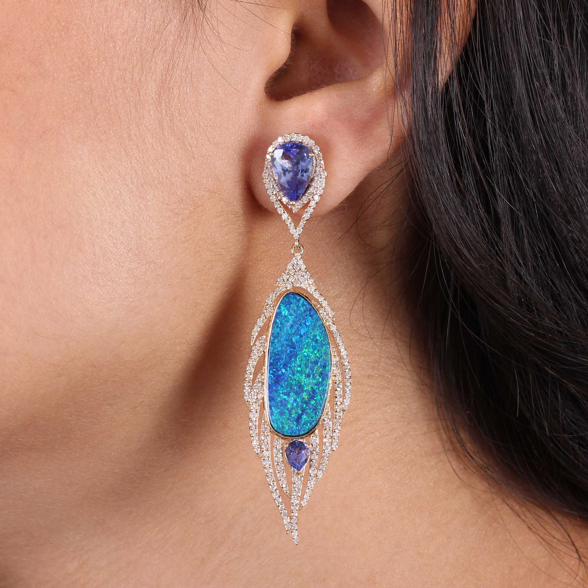 Opal Tanzanite Pave Diamond Dangle Earrings 14k Solid Gold Fine Jewelry