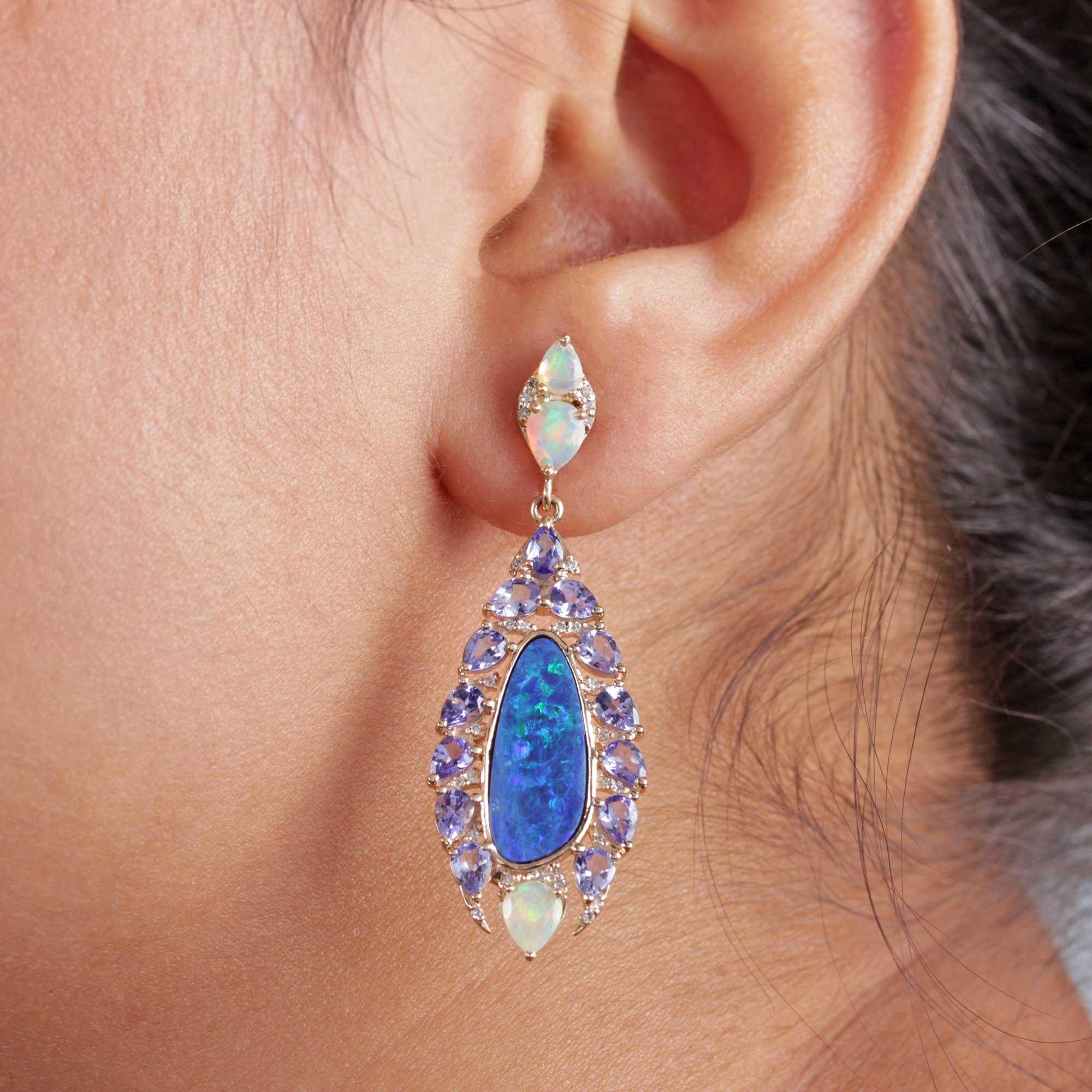 Pave Diamond Opal Tanzanite Dangle Earrings 14k Solid Gold Fine Jewelry