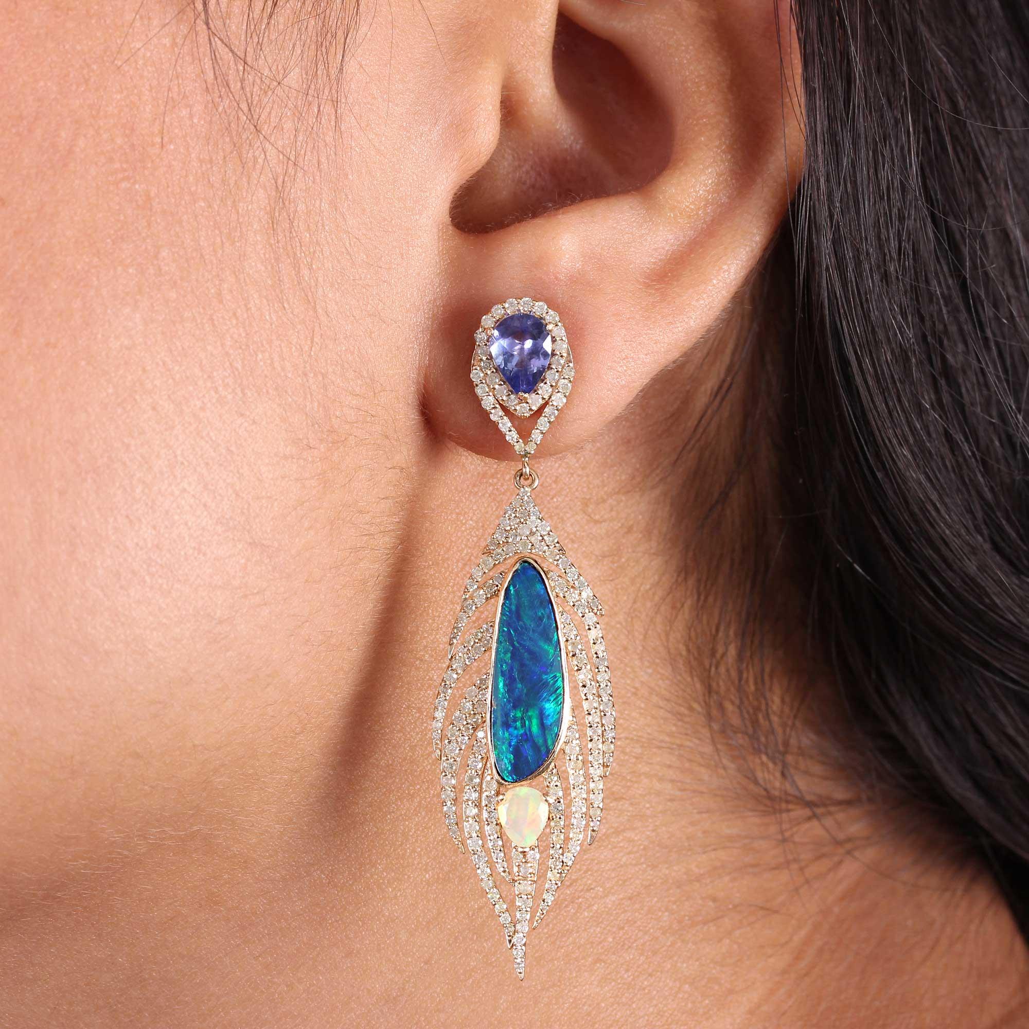 14k Solid Gold Opal Tanzanite Dangle Earrings Pave Diamond Fine Jewelry