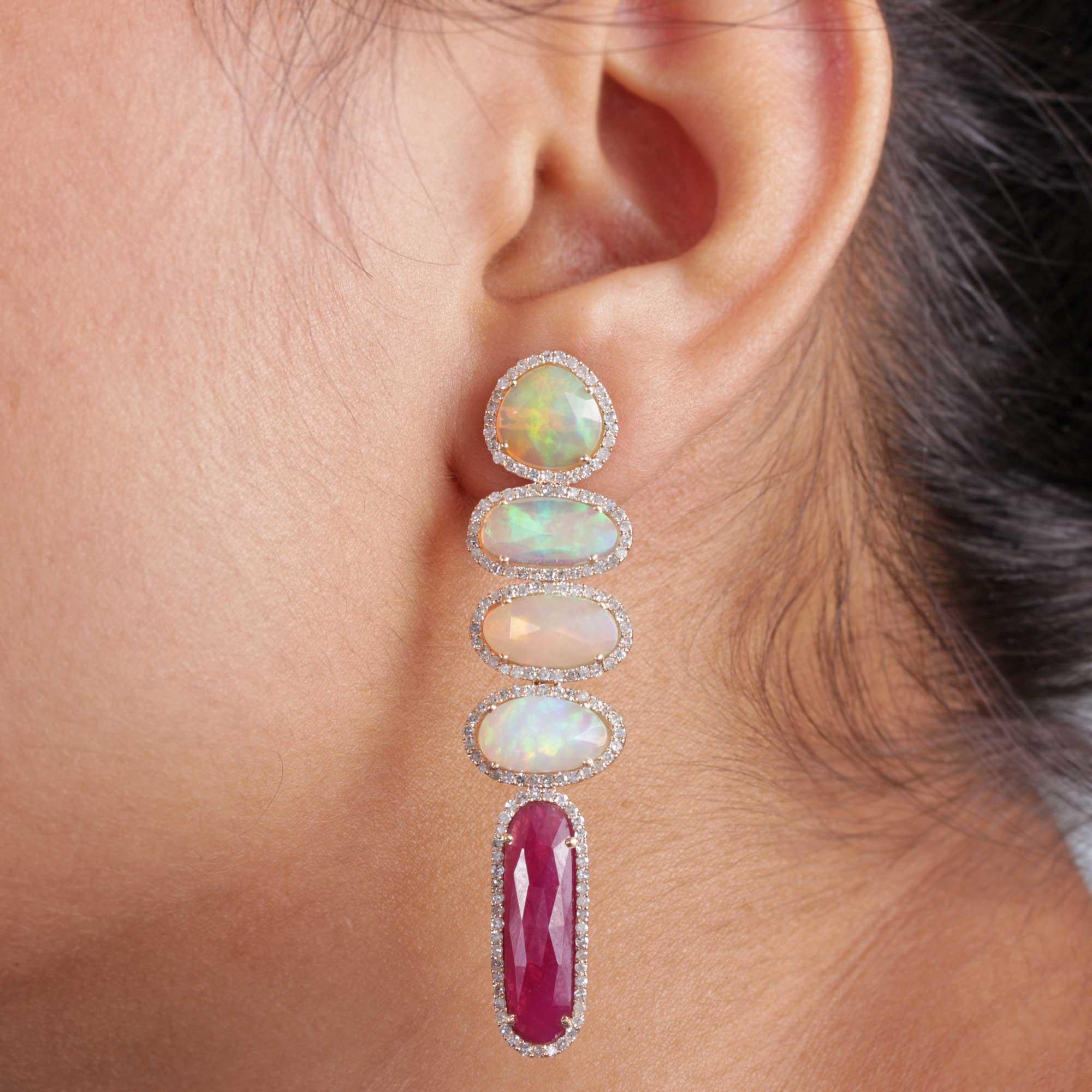 Opal Ruby 14k Solid Gold Dangle Earrings Pave Diamond Fine Jewelry