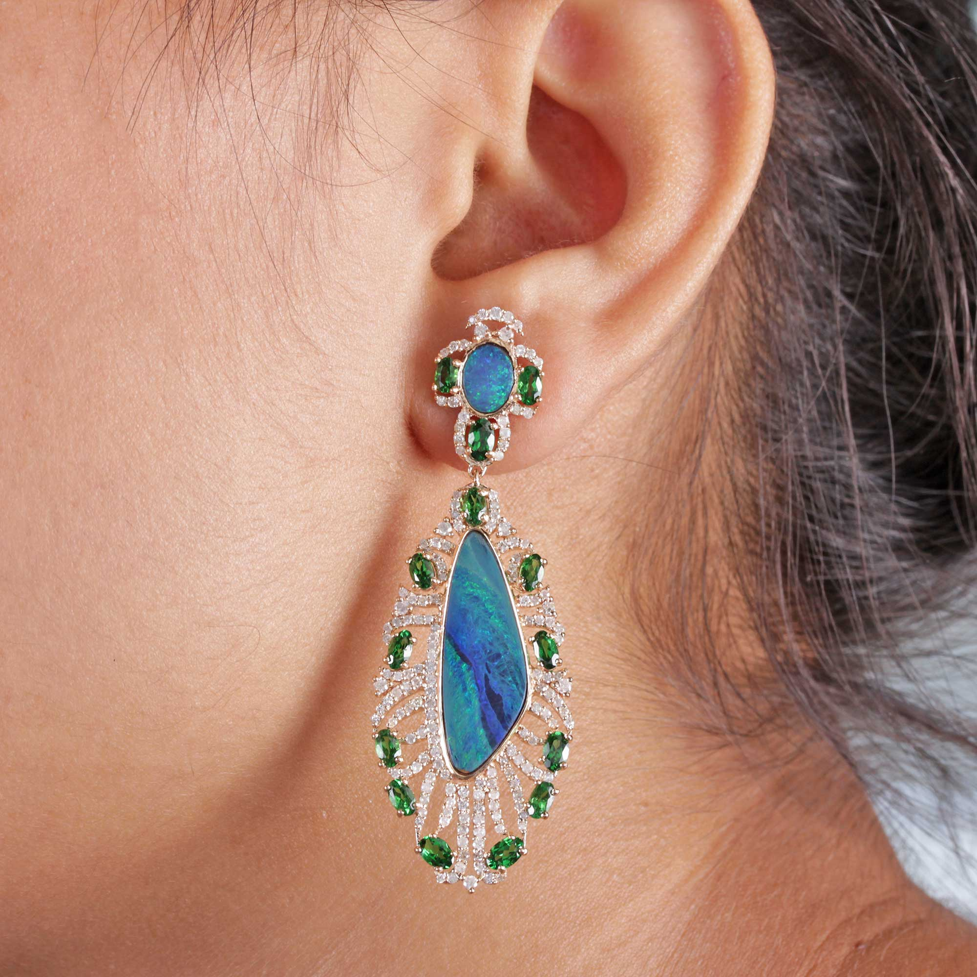 Pave Diamond Opal Tsavorite Dangle Earrings 14k Solid Gold Fine Jewelry