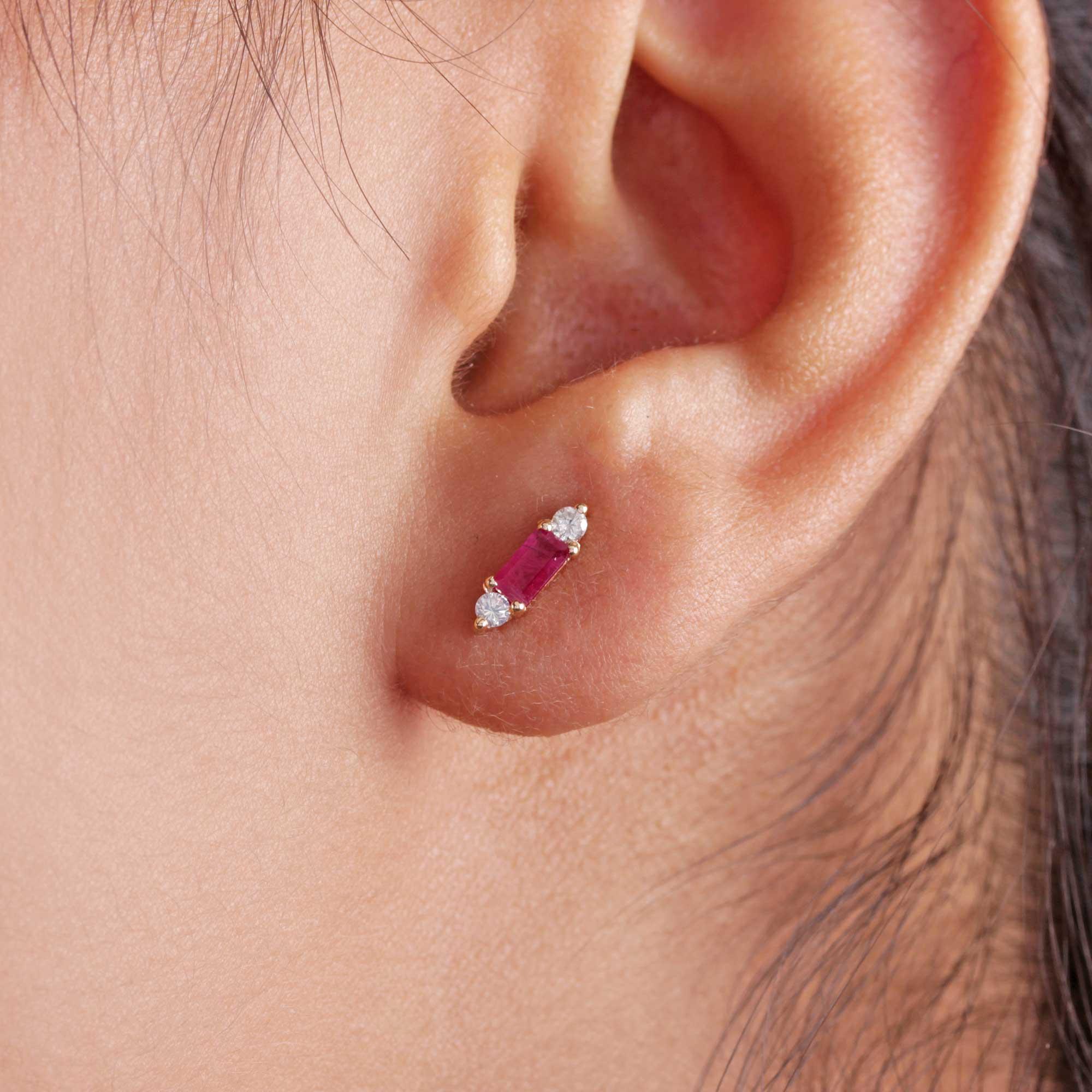 Natural Diamond Tourmaline 14K Solid Gold Stud Earrings