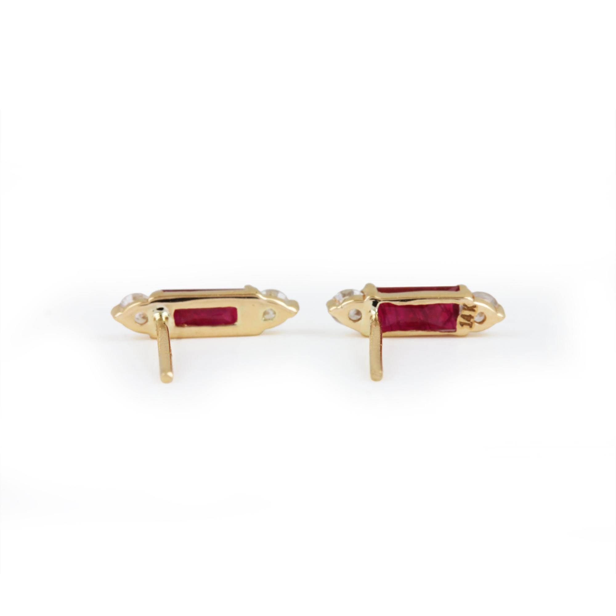 Ruby Gemstone 14K Solid Gold Stud Earrings Natural Diamond Jewelry