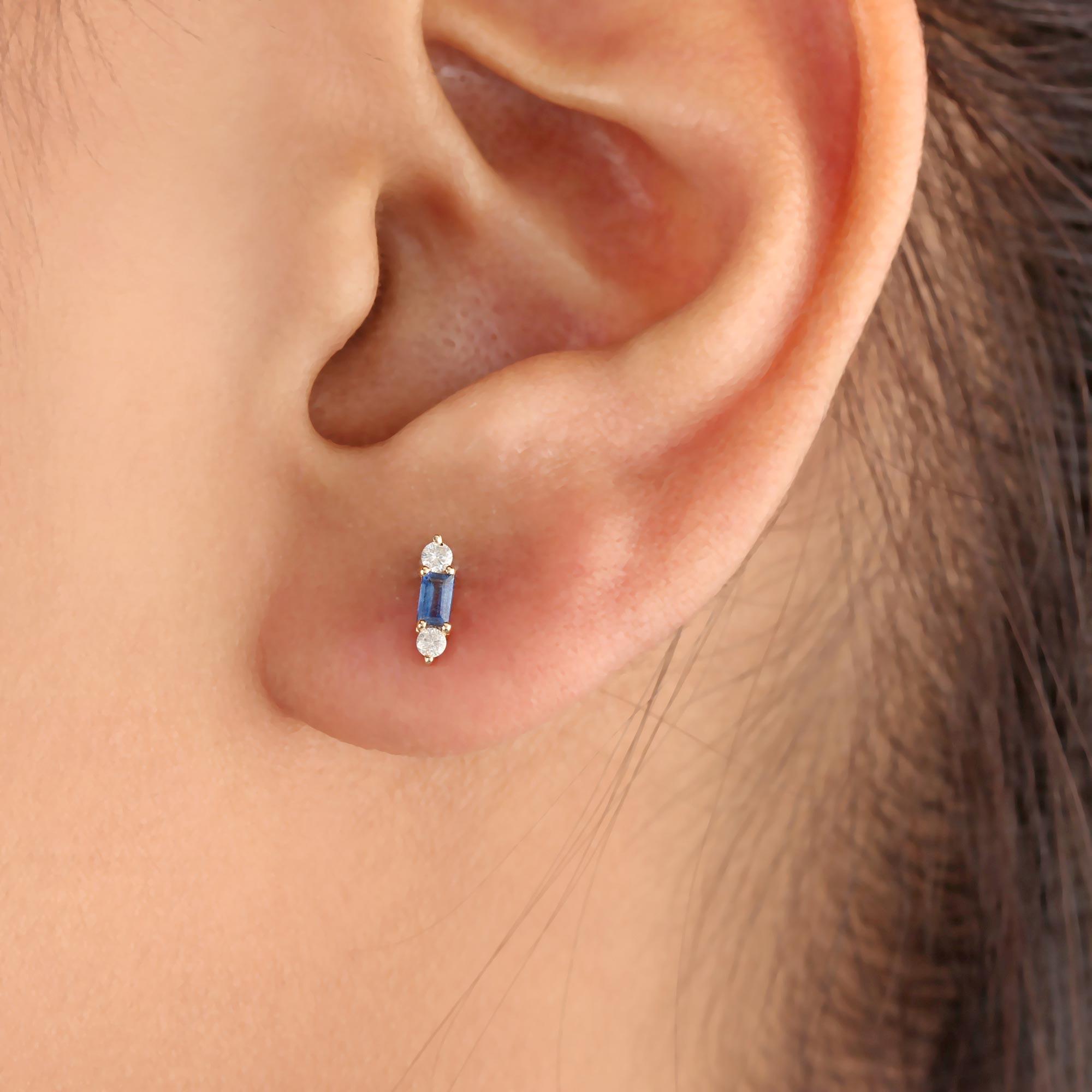 Blue Sapphire Gemstone 14K Solid Gold Stud Earrings Natural Diamond Jewelry