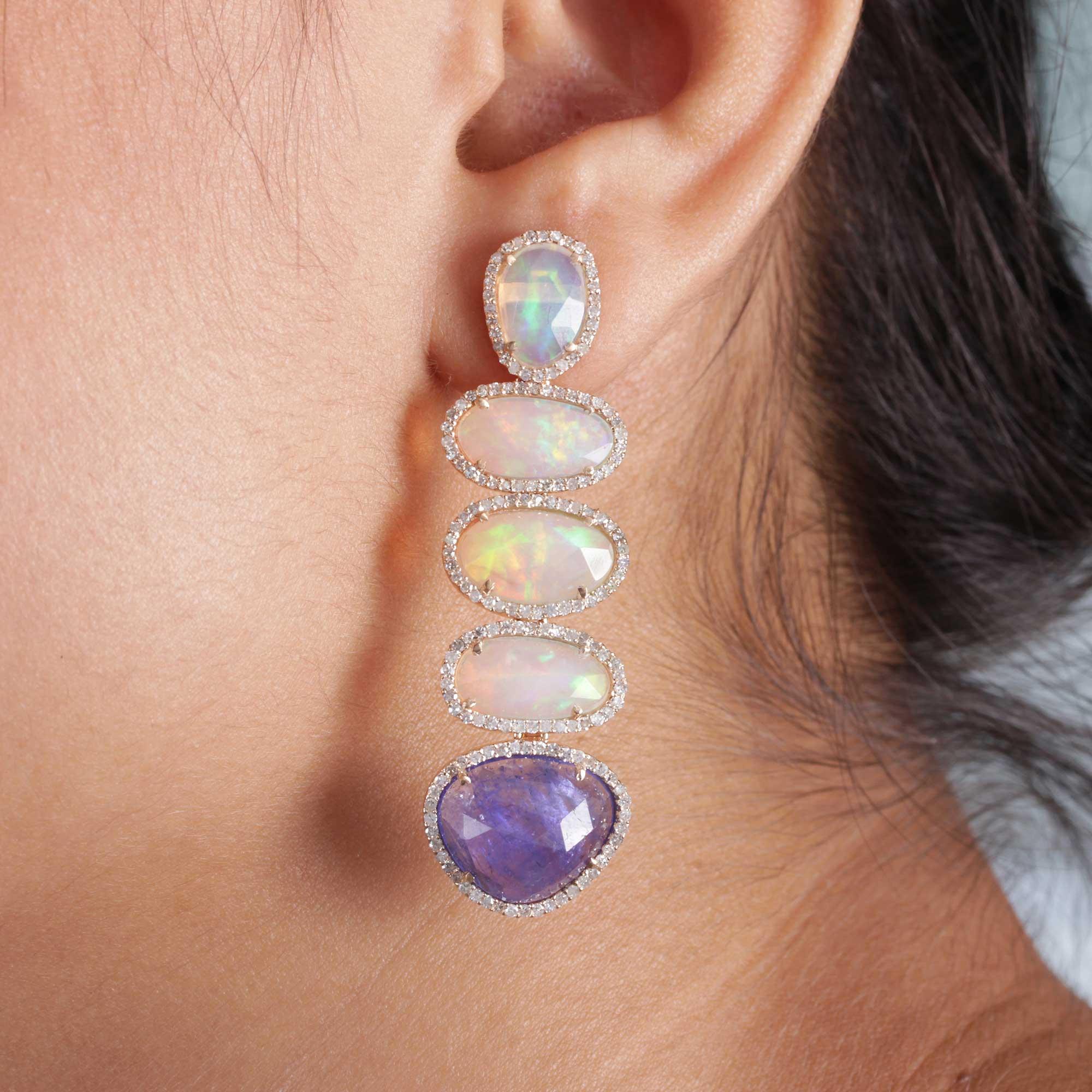 Tanzanite Opal Dangle Earrings 14k Solid Gold Pave Diamond Fine Jewelry