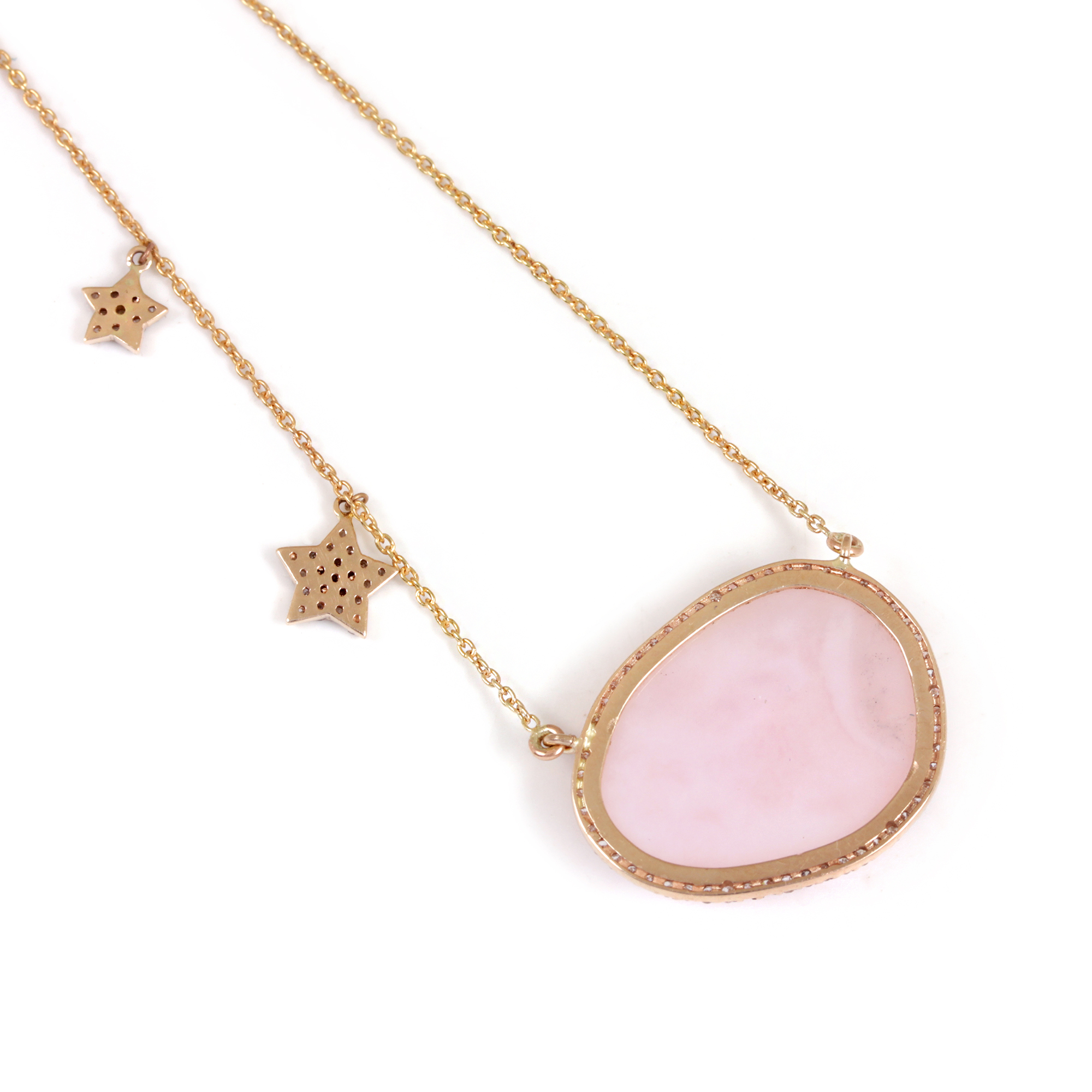 Pink Opal Pave Diamond Pendant Necklace 14K Solid Gold Chain Jewelry