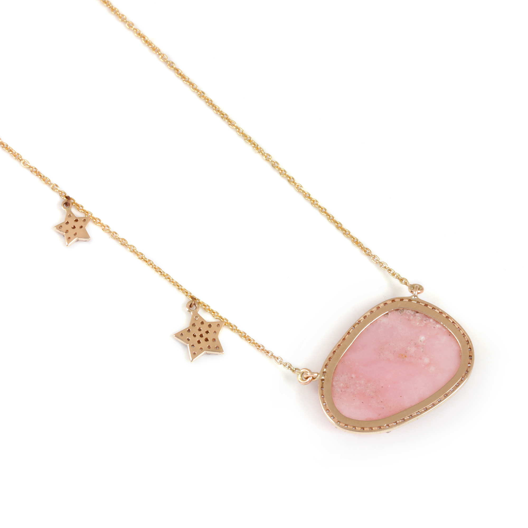 Pave Diamond Pink Opal Pendant Necklace 14K Solid Gold Chain Jewelry