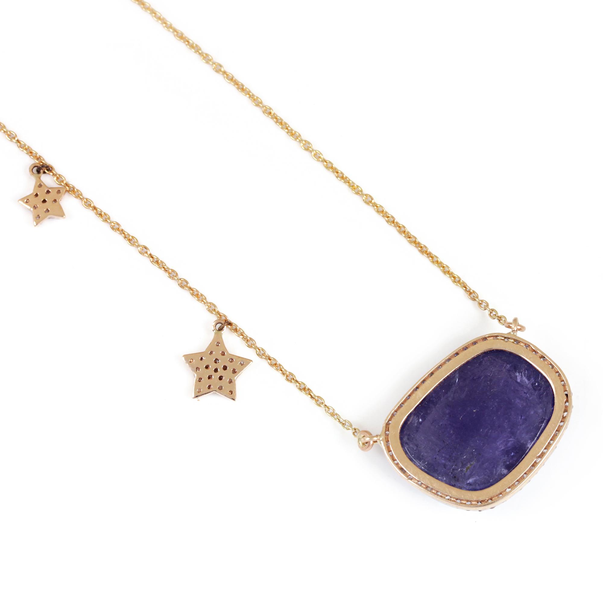 Pave Diamond Tanzanite Pendant Necklace 14K Solid Gold Chain Jewelry