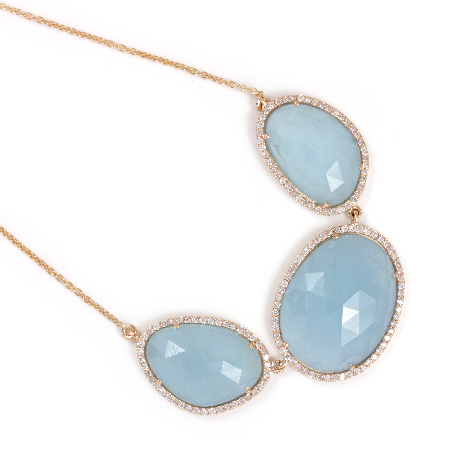 Natural Aquamarine Pave Diamond Pendant Necklace 14K Solid Gold Chain Jewelry