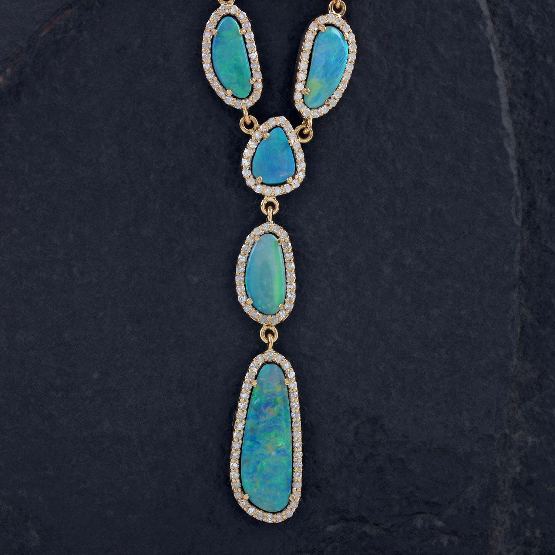 14K Solid Gold Opal Gemstone Lariat Necklace Pave Diamond Jewelry
