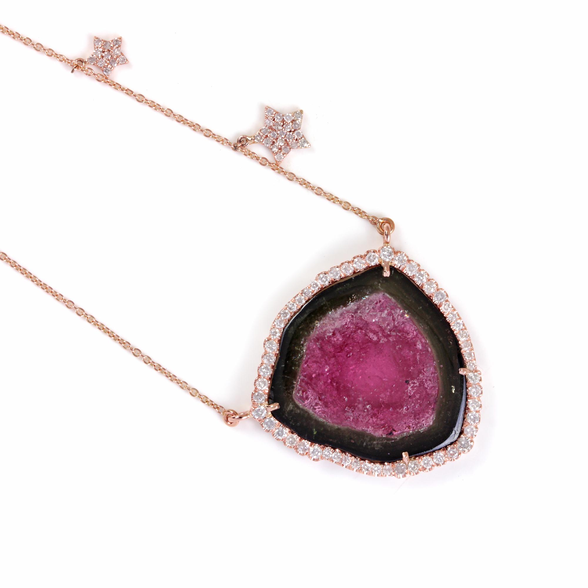 Pink Tourmaline Gemstone 14K Solid Gold Pendant Necklace Pave Diamond Jewelry