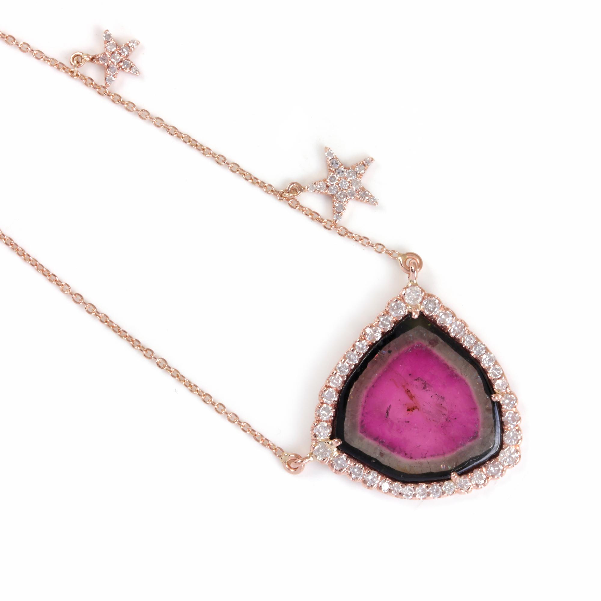 Pink Tourmaline 14K Solid Gold Pendant Necklace Pave Diamond Jewelry