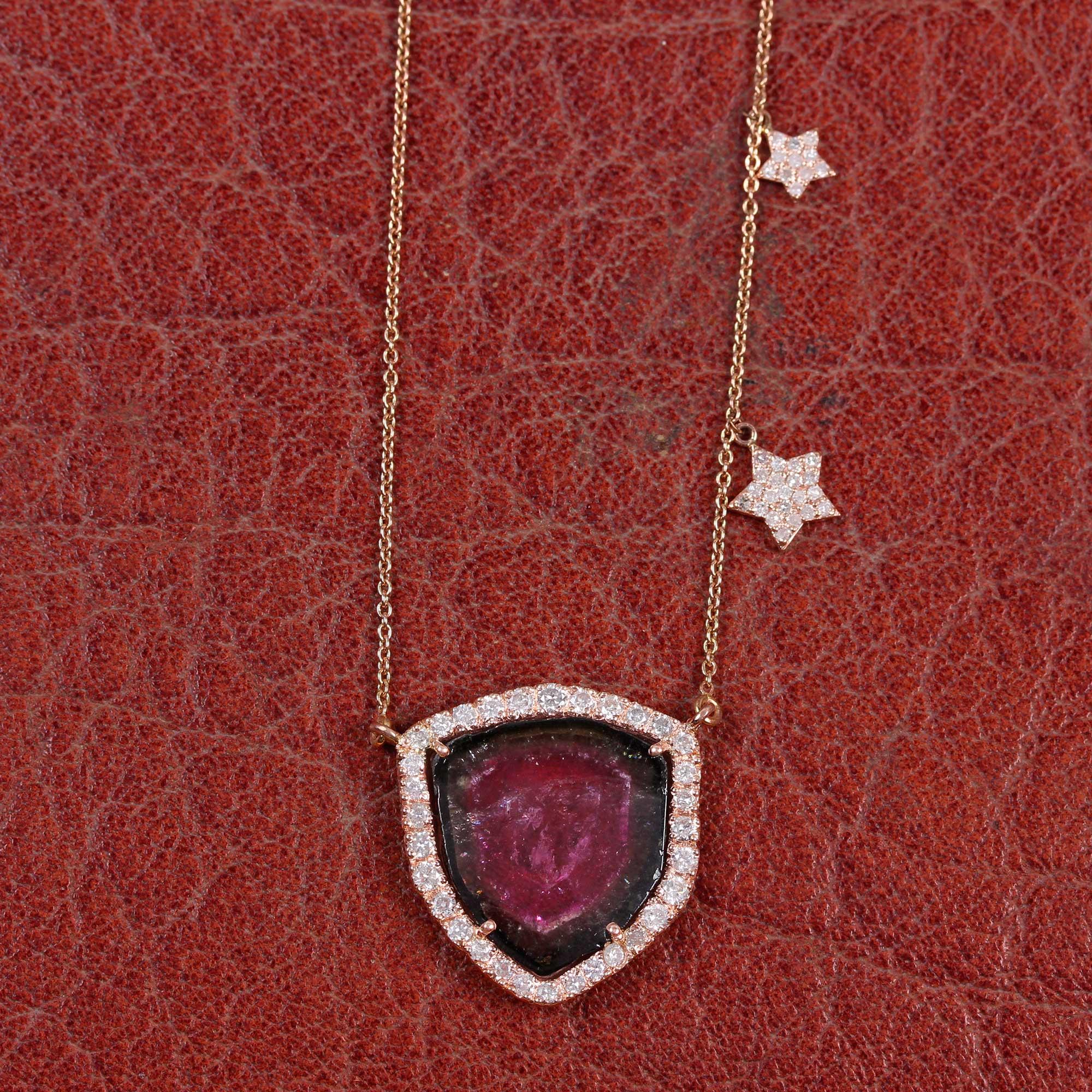Tourmaline Gemstone 14K Solid Gold Pendant Necklace Pave Diamond Jewelry