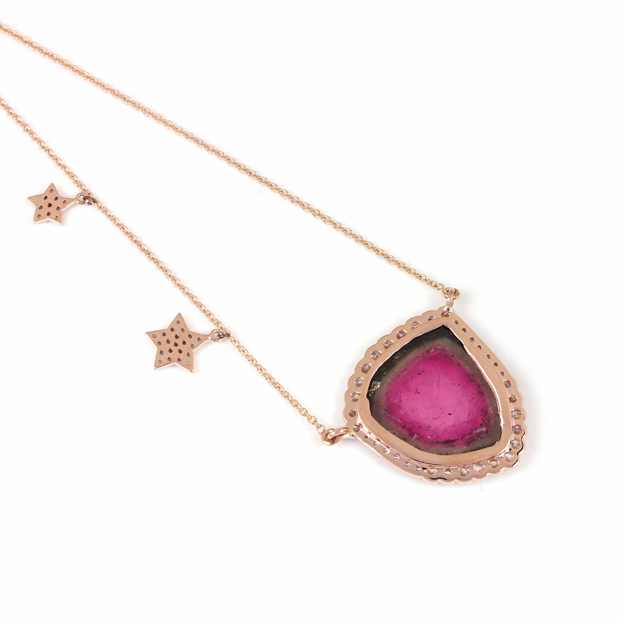 Tourmaline Pave Diamond Pendant Chain Necklace 14K Solid Gold Jewelry