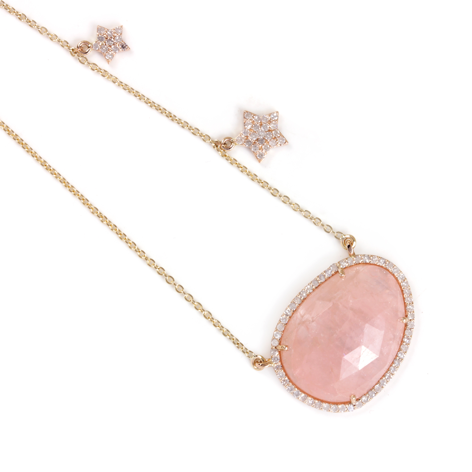 Rainbow Moonstone Pave Diamond 14K Solid Gold Pendant Necklace Jewelry