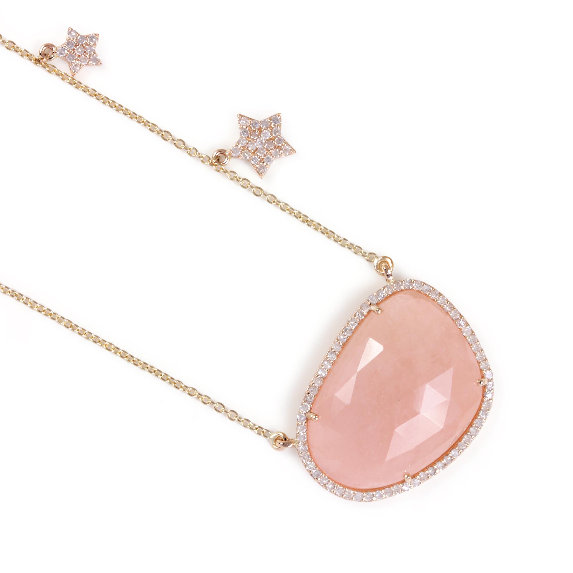 Rainbow Moonstone Gemstone 14K Solid Gold Pendant Necklace Pave Diamond Jewelry