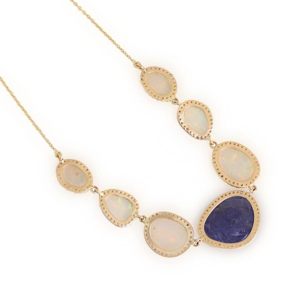 14K Solid Gold Opal Tanzanite Pendant Chain Necklace Pave Diamond Jewelry