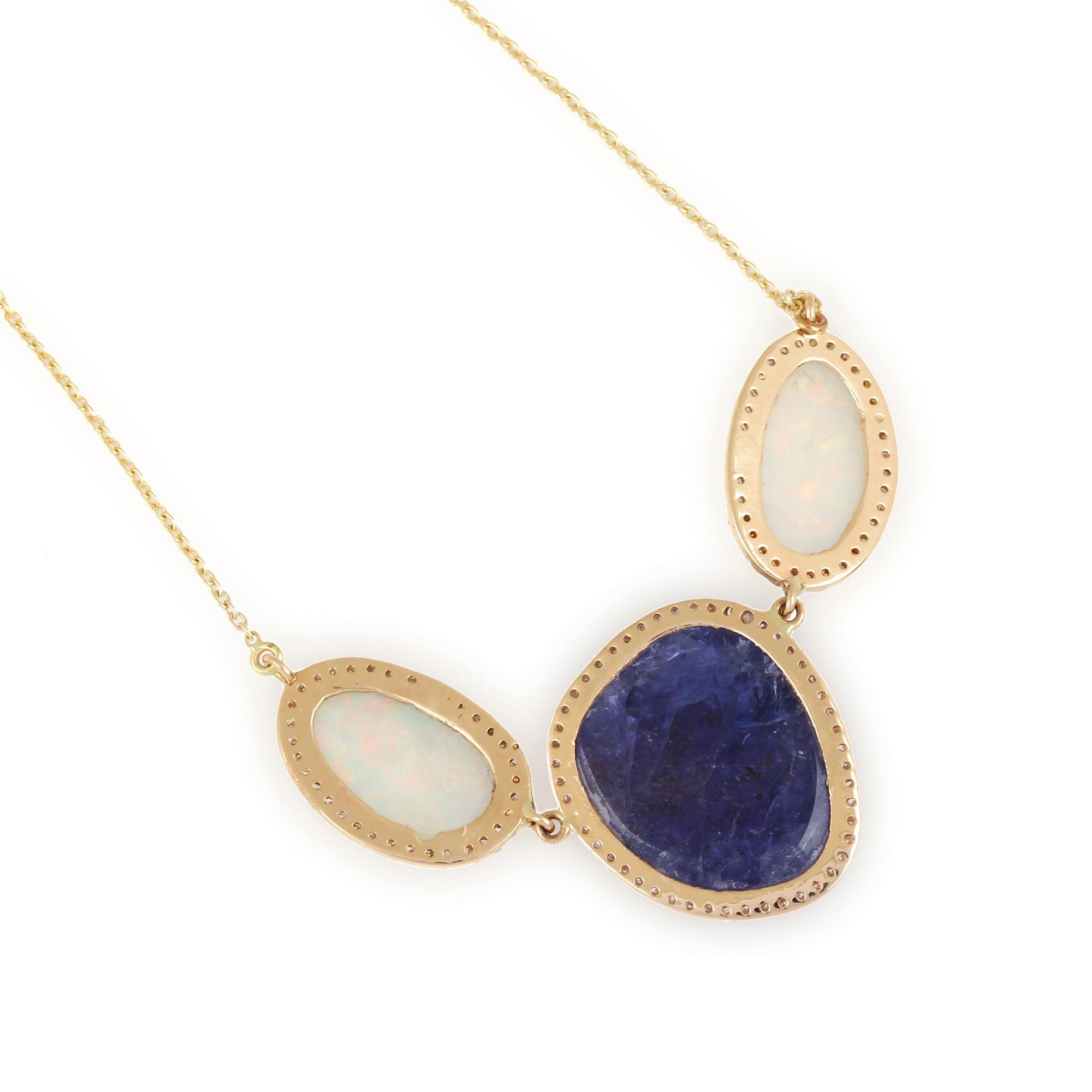 14K Solid Gold Tanzanite Opal Pendant Chain Necklace Pave Diamond Jewelry