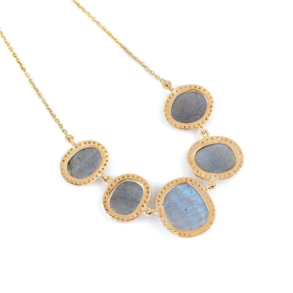 14K Solid Gold Labradorite Pendant Chain Necklace Pave Diamond Jewelry