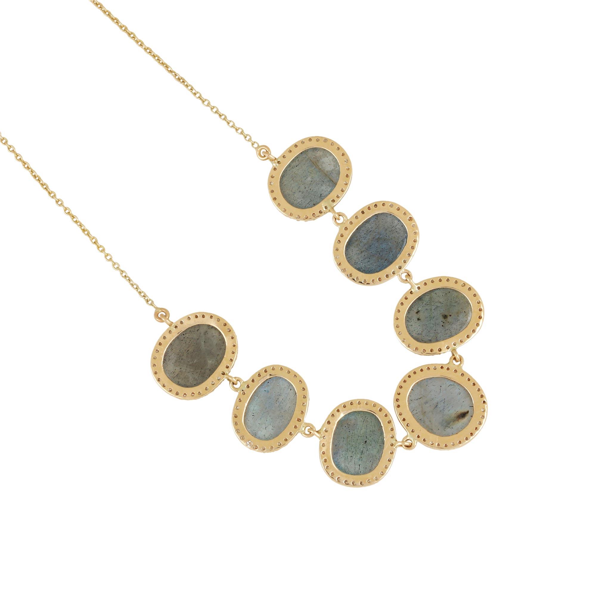 Labradorite Gemstone Pave Diamond Pendant Chain Necklace 14K Solid Gold Jewelry