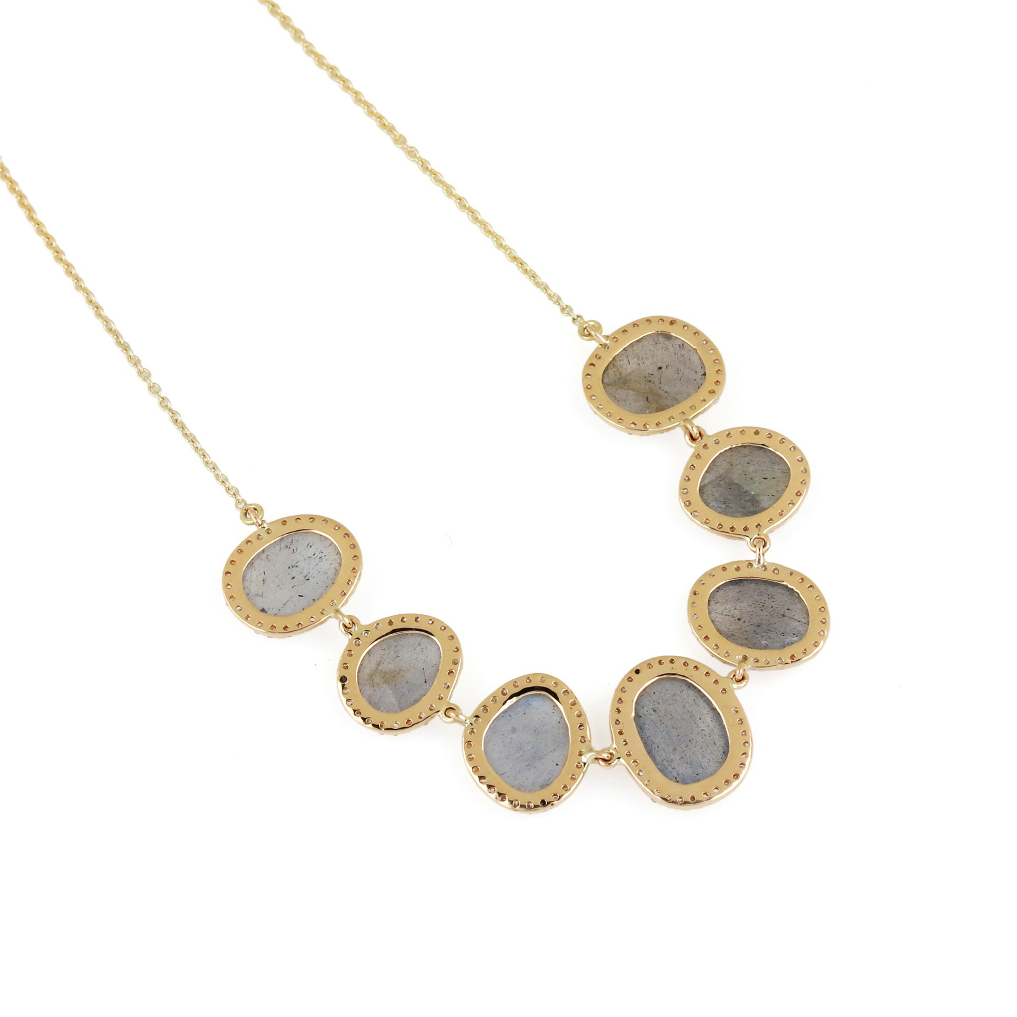 Labradorite Pendant Chain Necklace Pave Diamond 14K Solid Gold Jewelry