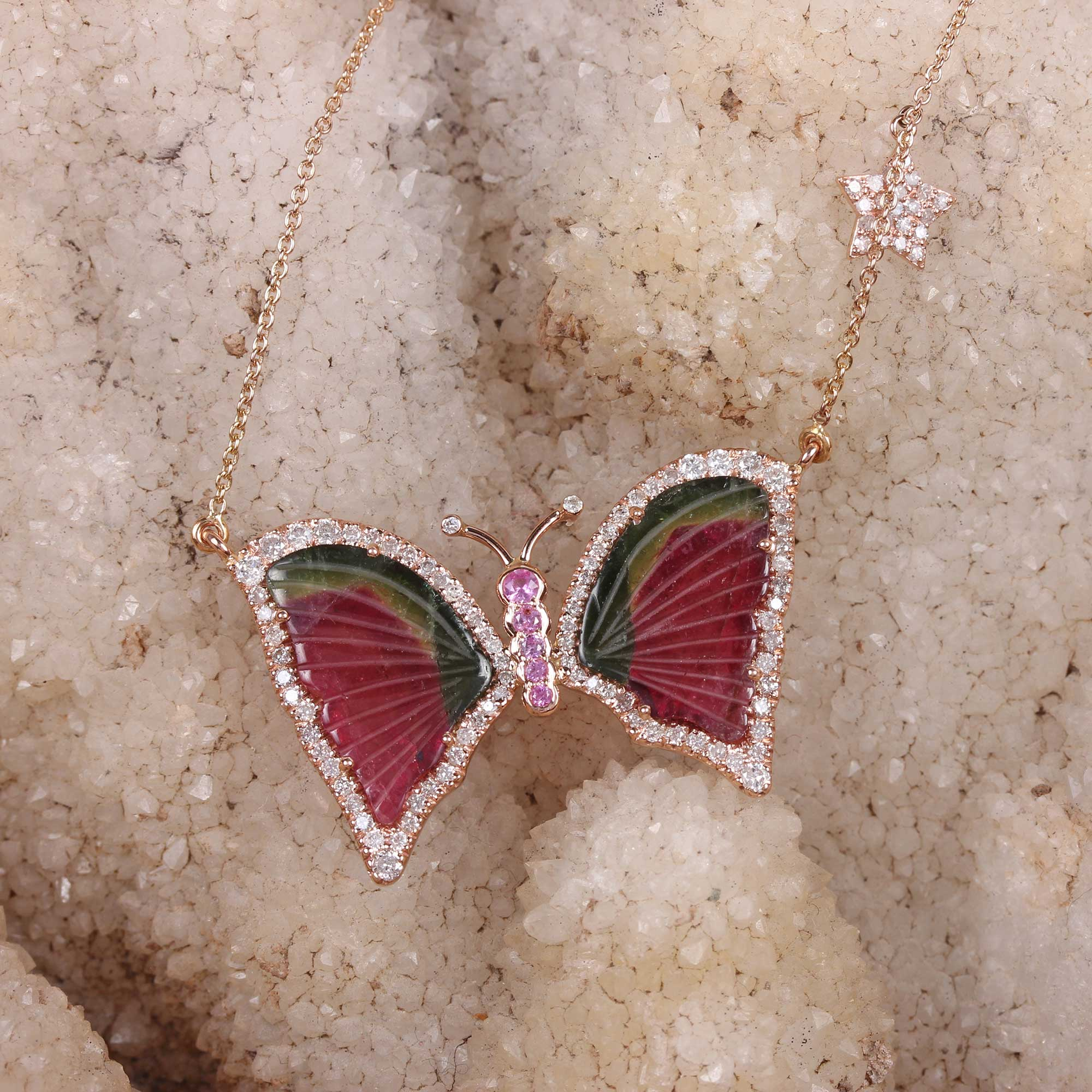 Pave Diamond 14K Solid Gold Butterfly Pendant Necklace Pink Sapphire Jewelry