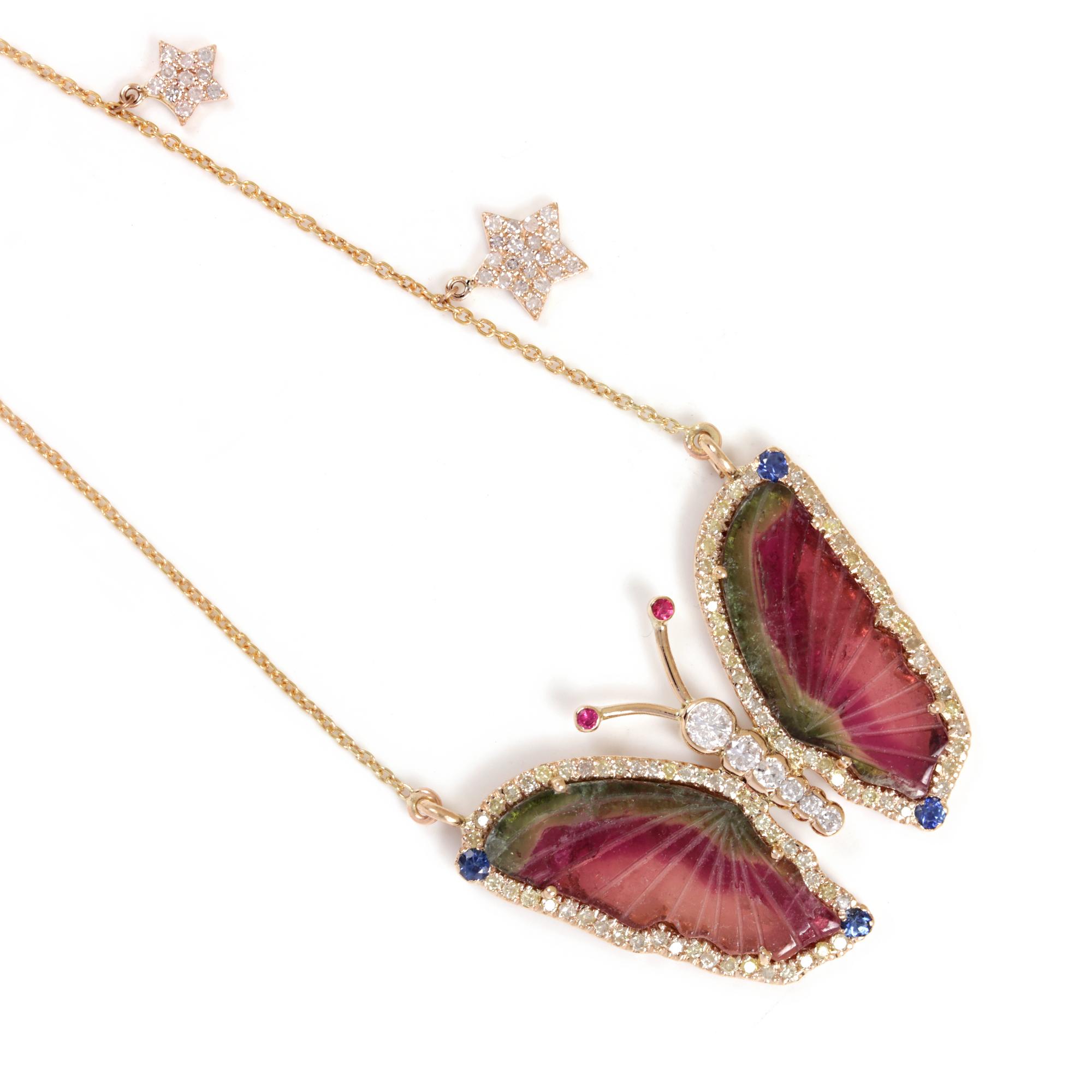 Tourmaline Gemstone Sapphire Ruby Butterfly Pendant Necklace Pave Diamond 14K Solid Gold Jewelry