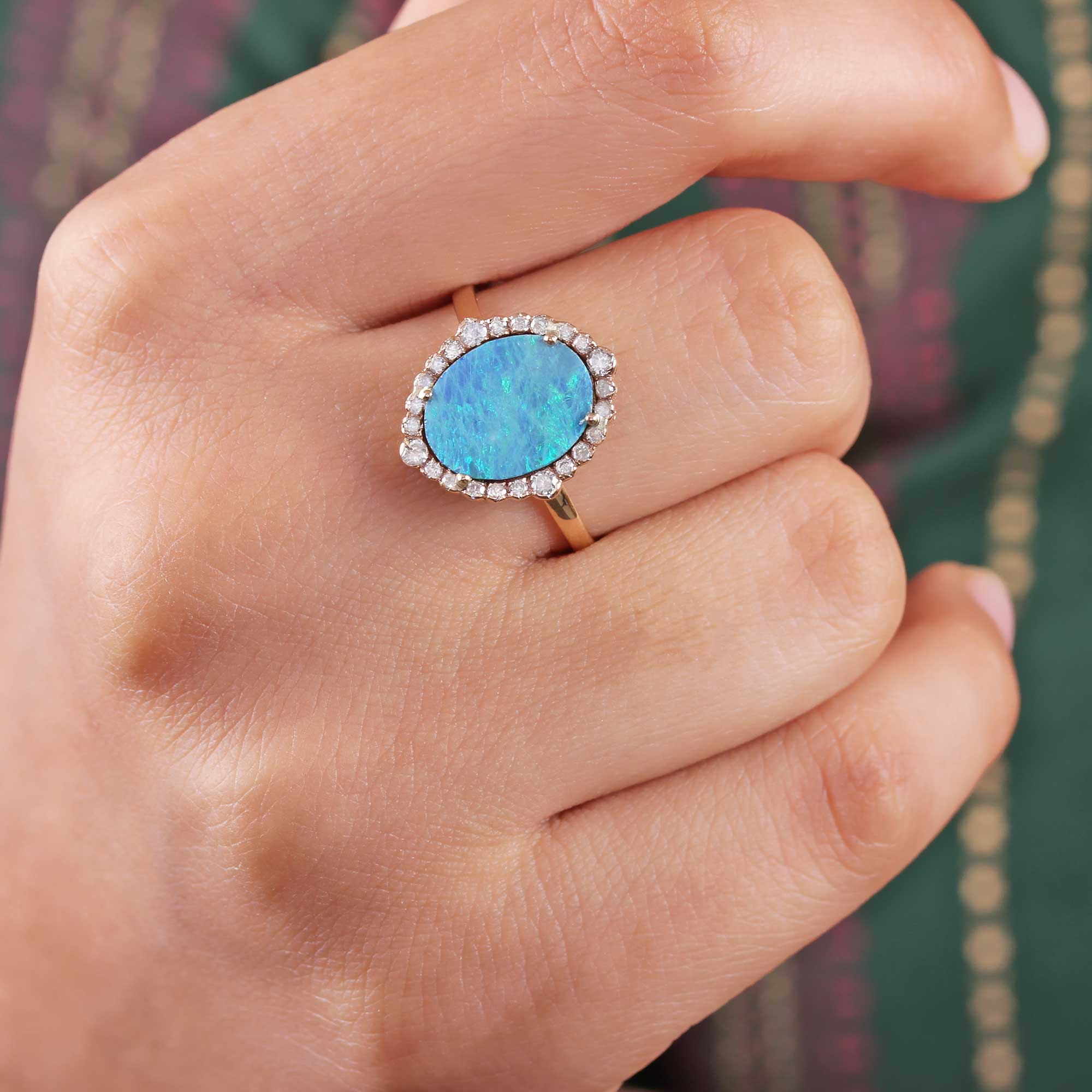 Opal Pave Diamond 14K Solid Gold Ring