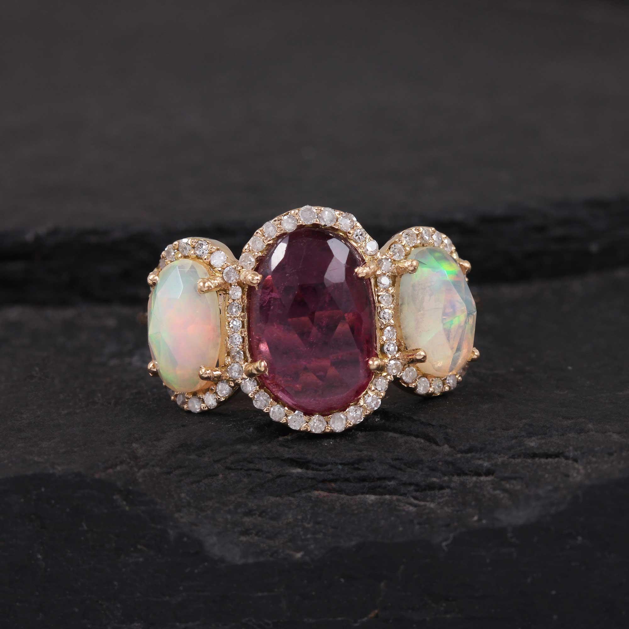 Opal Tourmaline Pave Diamond 14K Solid Gold Ring