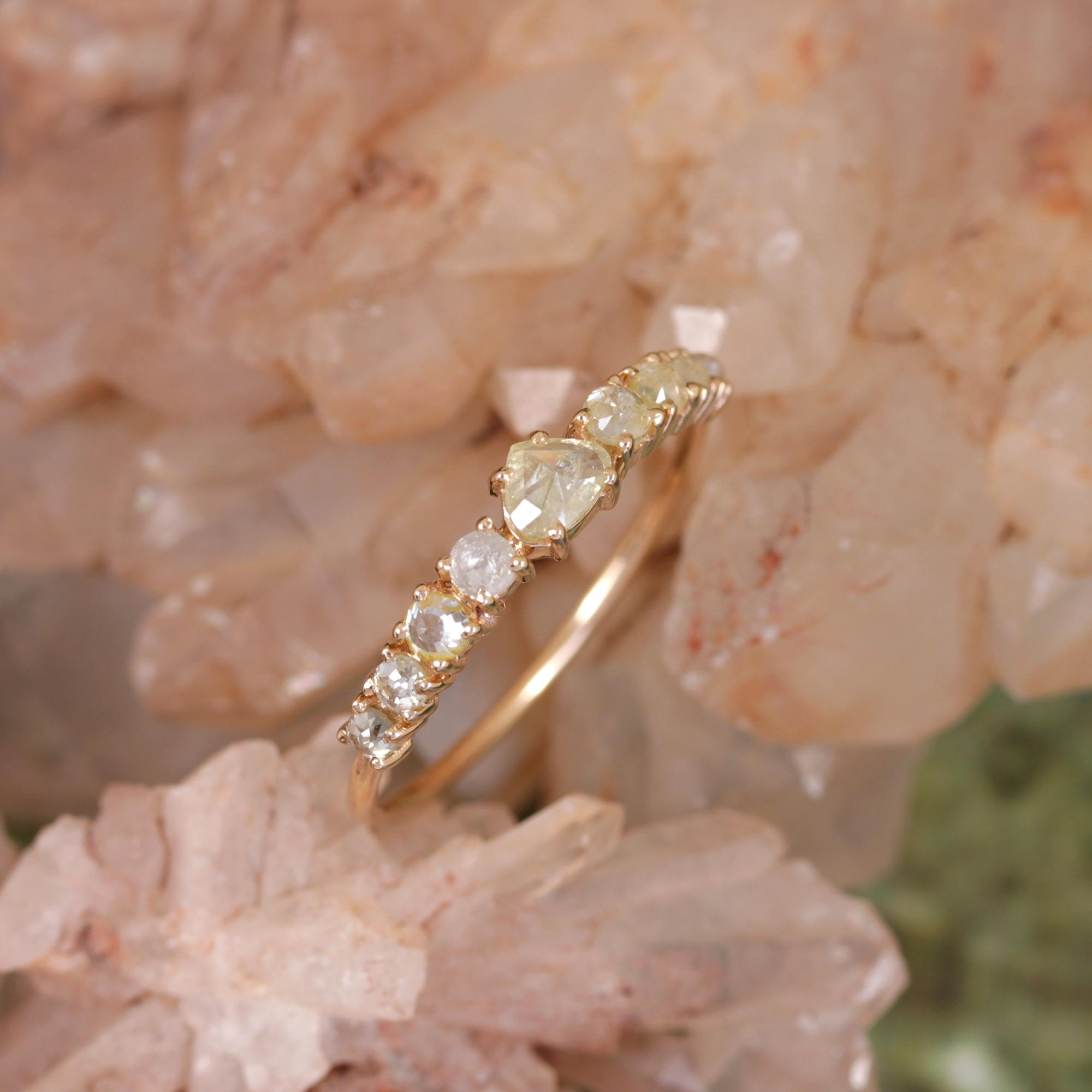 Natural Pave Diamond Ring 14K Solid Yellow Gold Jewelry