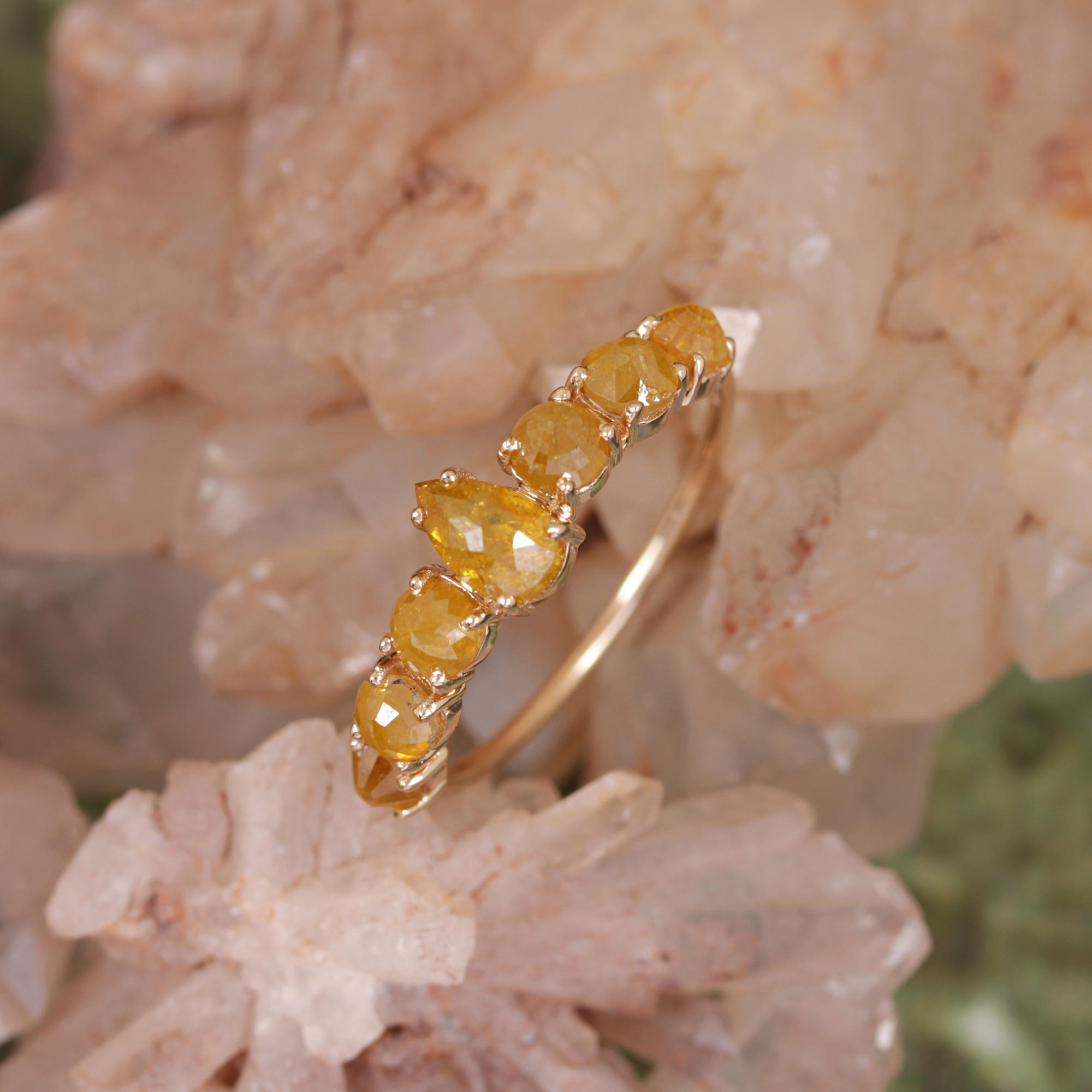 Natural Tambuly Diamond Ring 14K Solid Yellow Gold Jewelry
