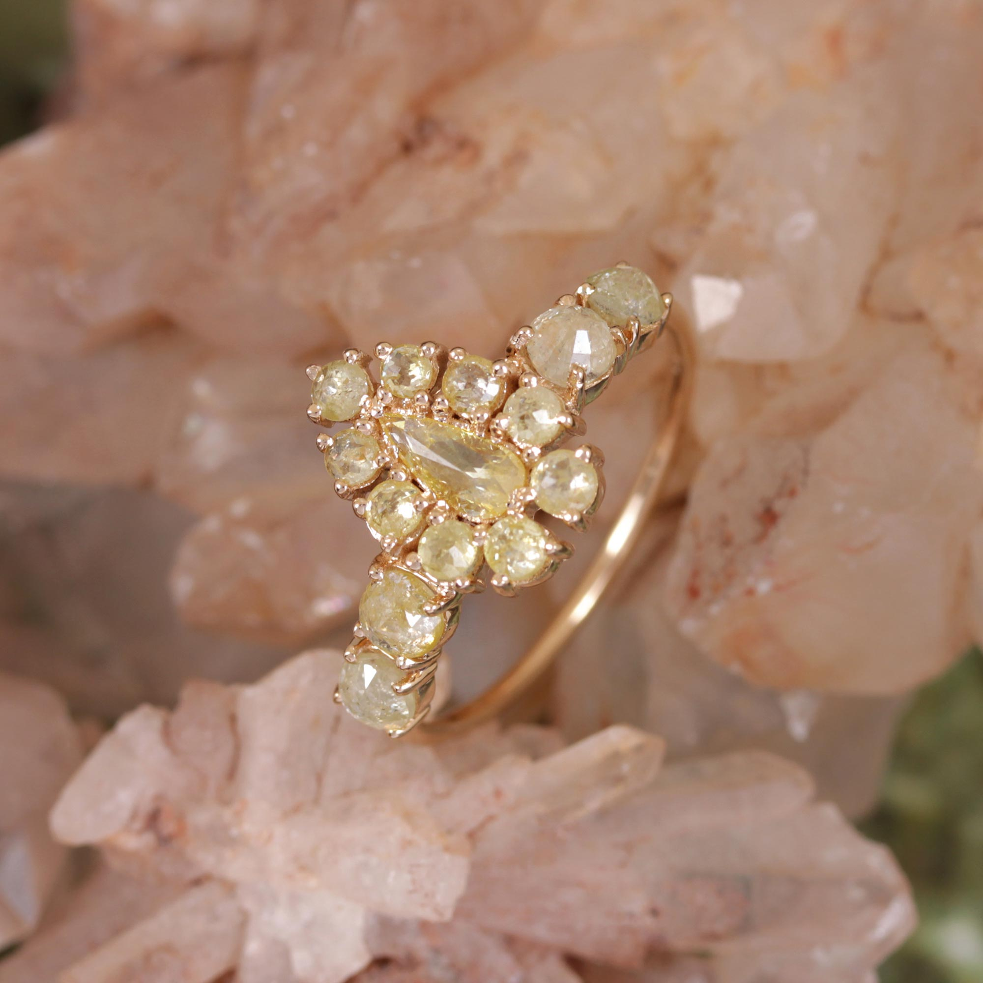 14K Solid Yellow Gold Natural Pave Diamond Ring Jewelry