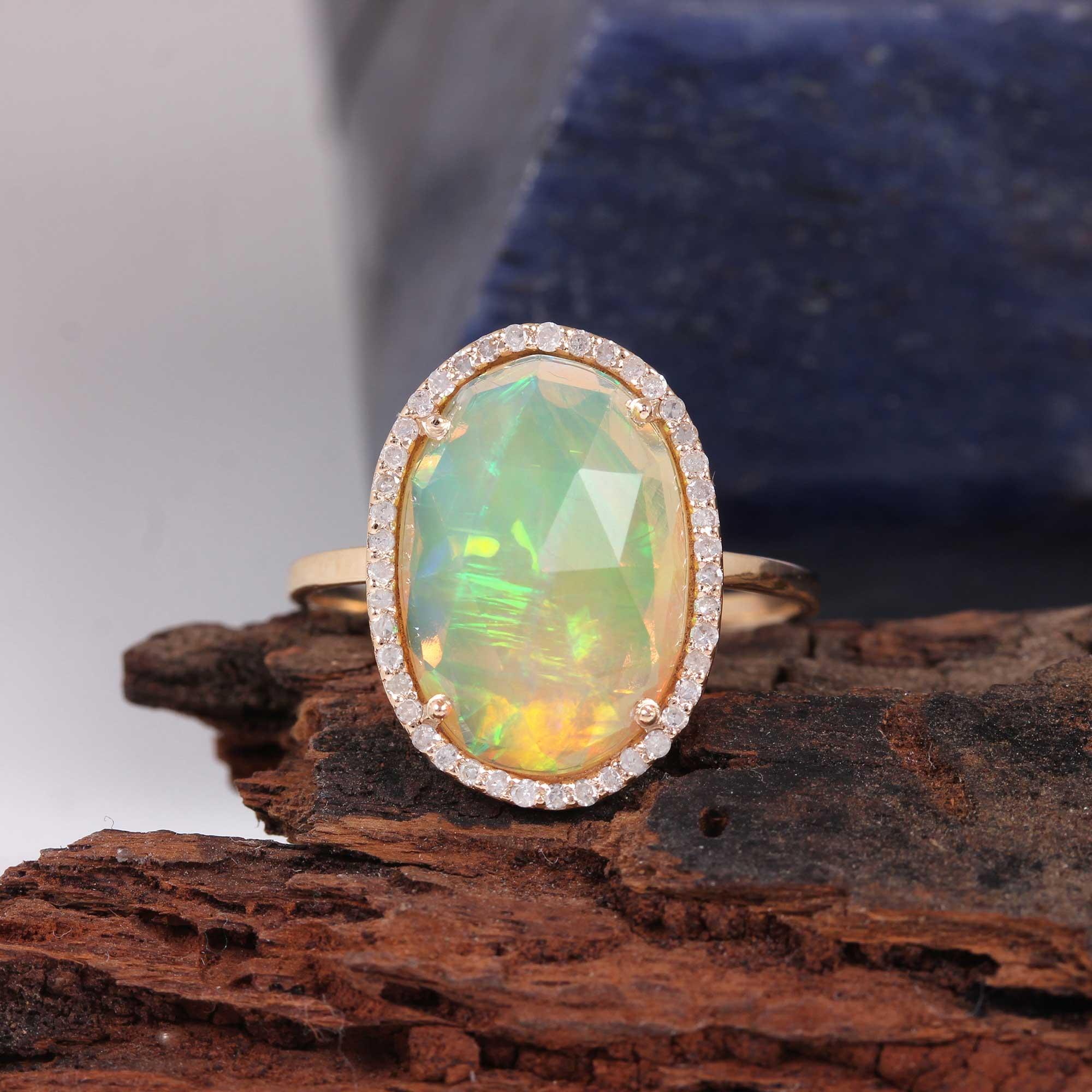 Gemstone Opal Pave Diamond Solid 14K Gold Ring