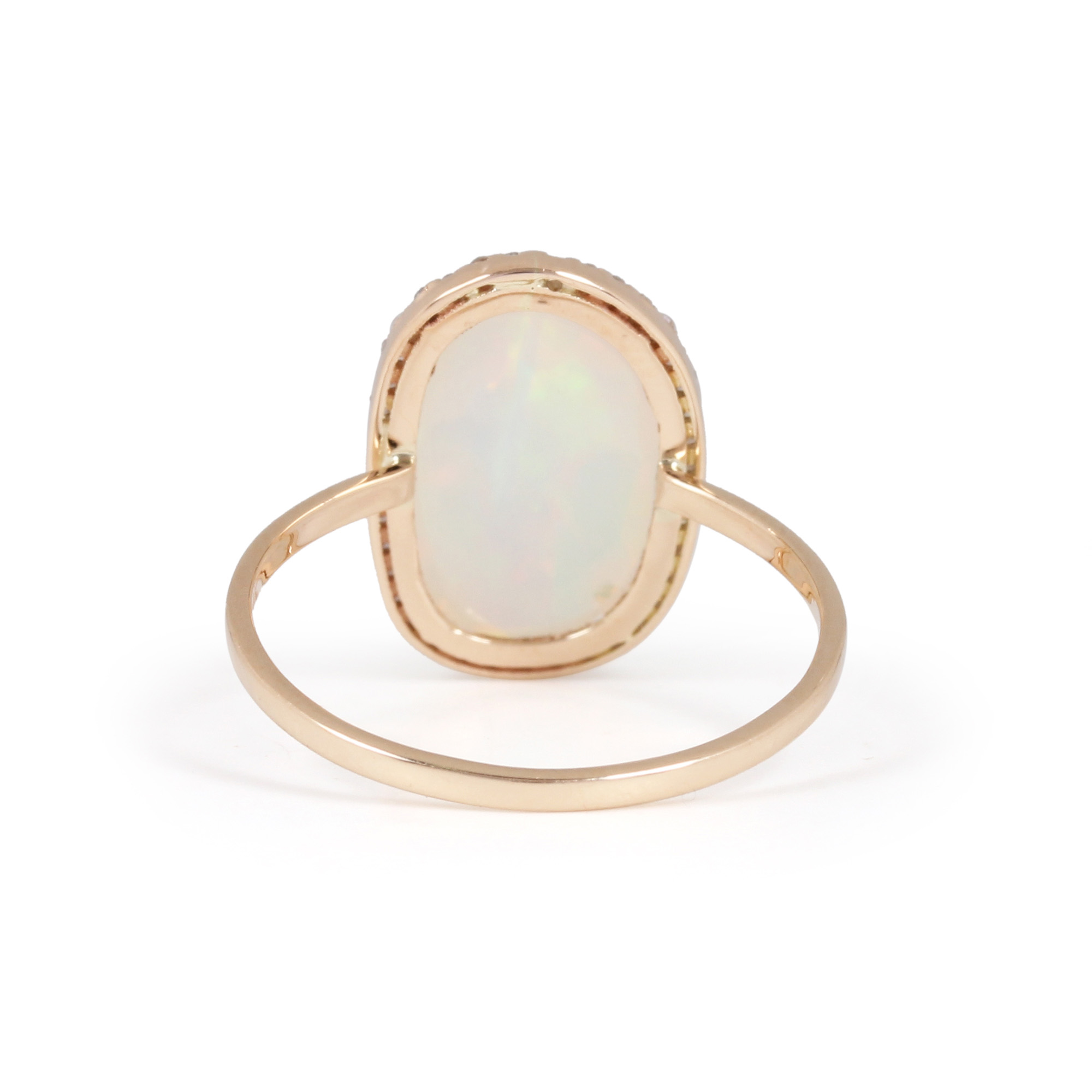 Gemstone Opal Pave Diamond Solid Gold Ring