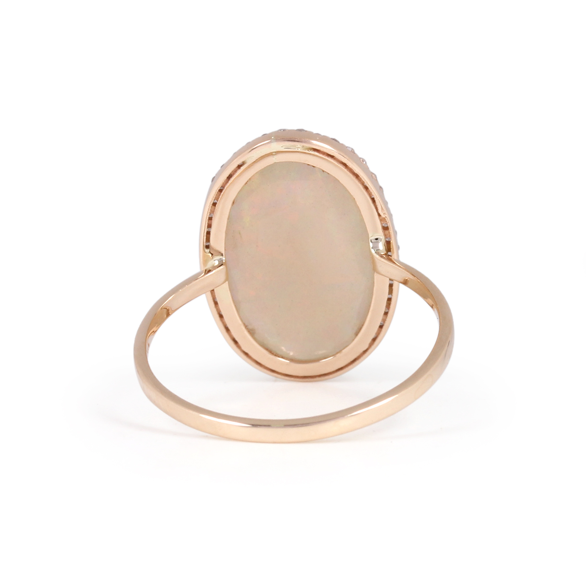 Gemstone Opal Pave Diamond Solid 14K Gold Ring Jewelry