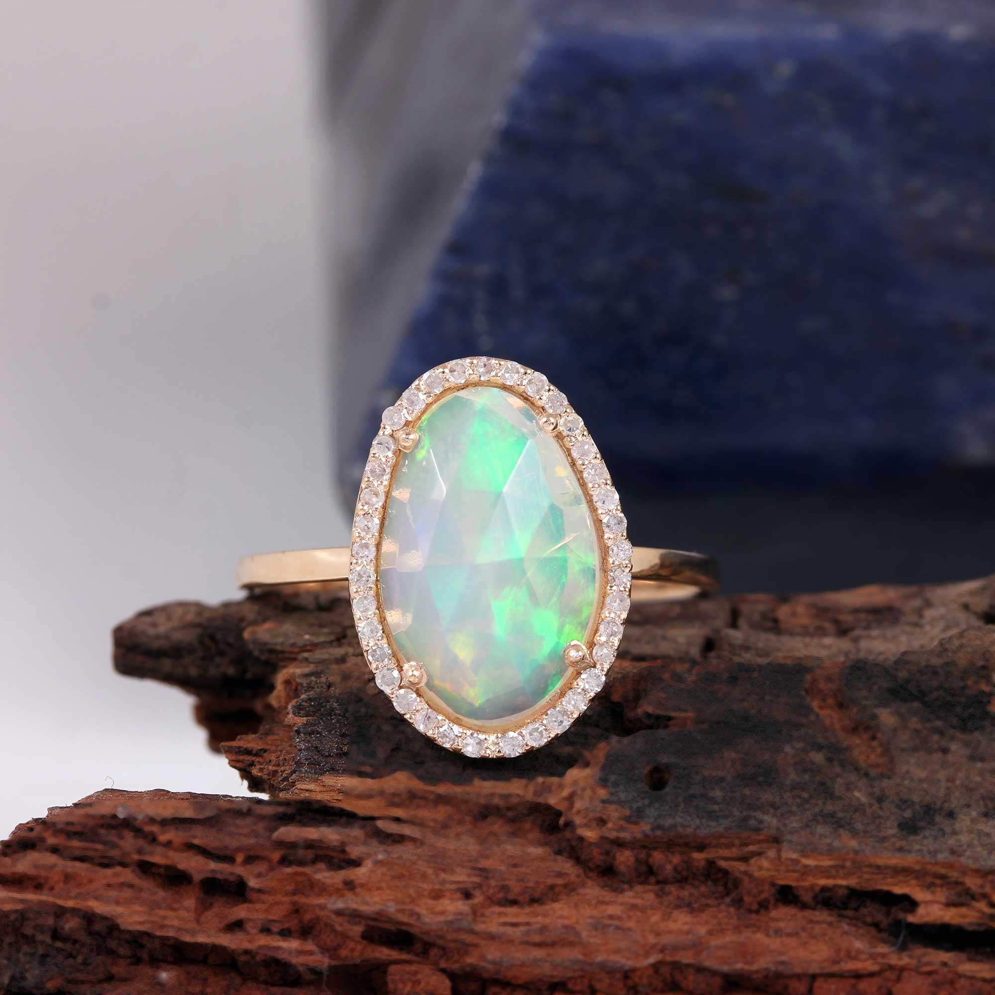 Gemstone Opal Diamond Solid 14K Gold Ring Jewelry