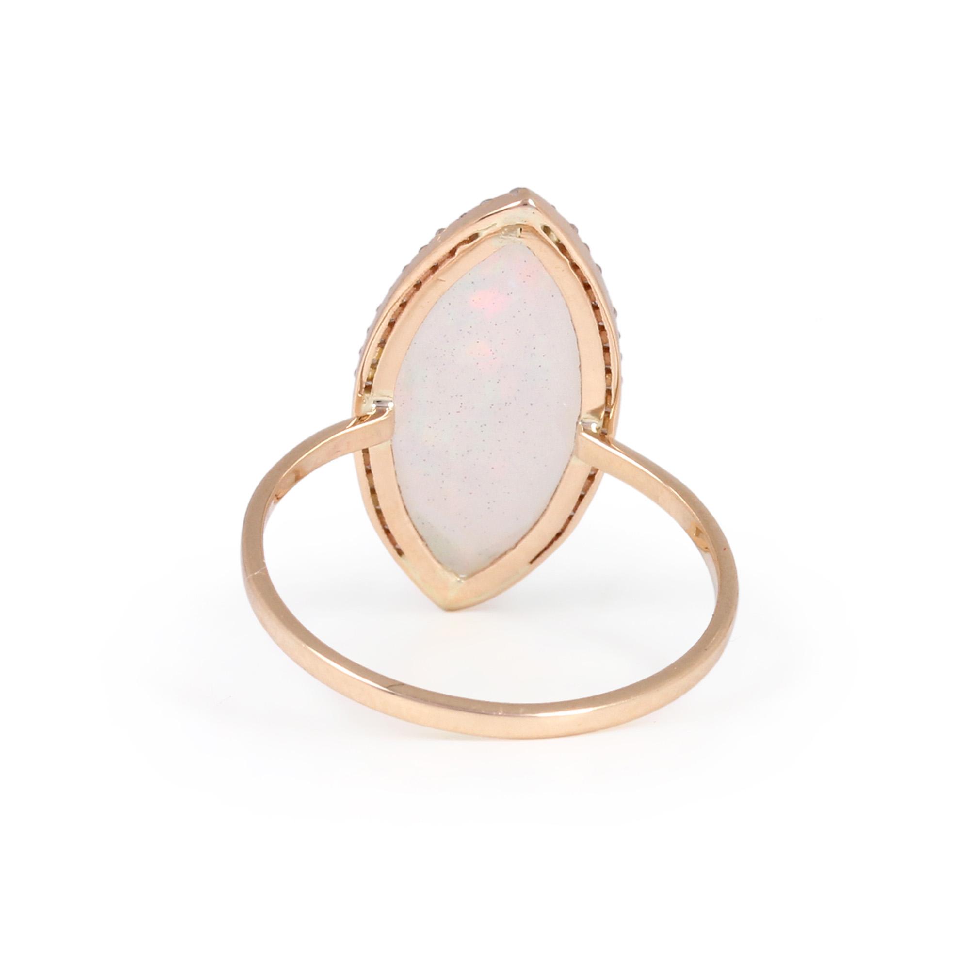 Gemstone Opal Natural Diamond Solid 14K Gold Ring