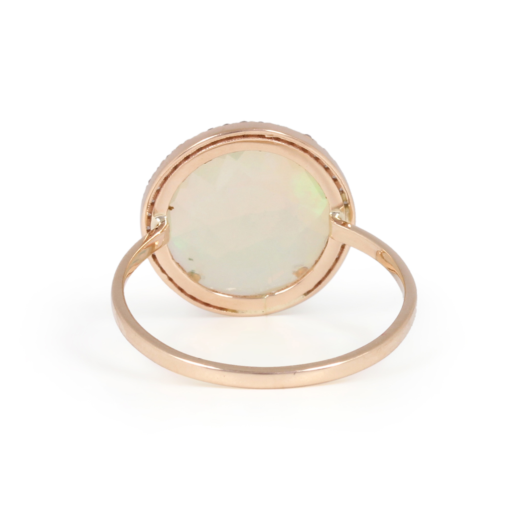 Gemstone Opal Natural Diamond Solid 14K Gold Ring Jewelry