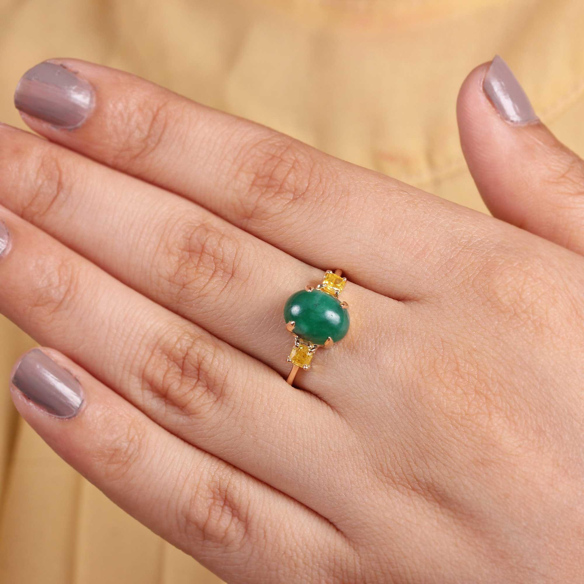 Natural Emerald Diamond Solid Gold Ring