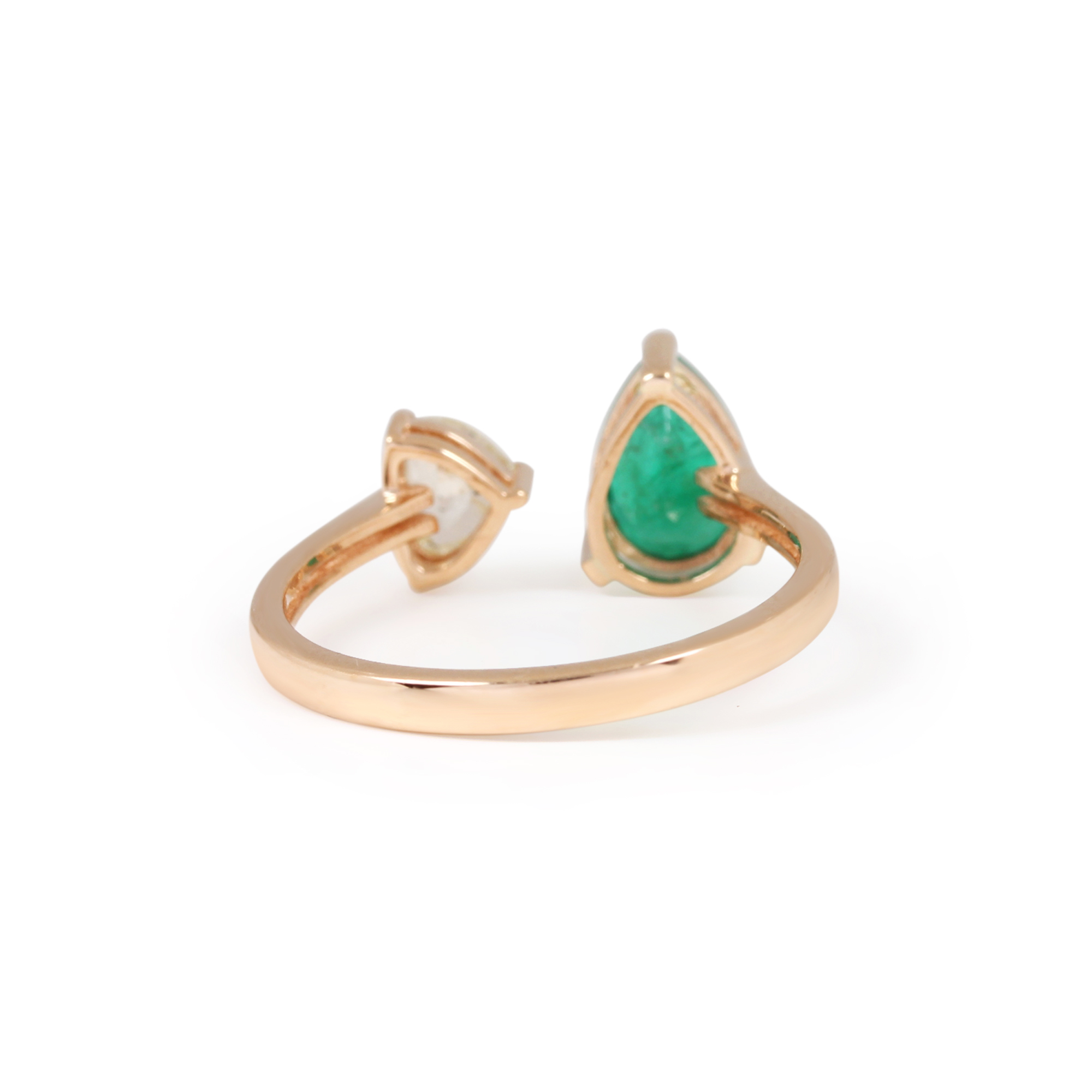 Natural Emerald Diamond Solid Gold Ring Jewelry