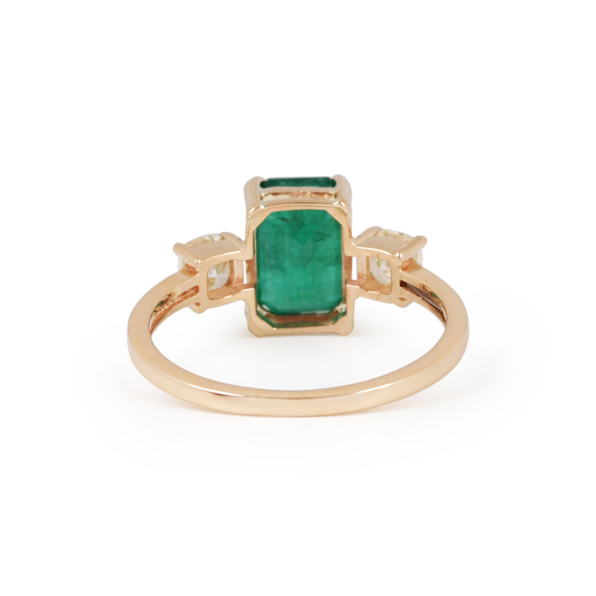 Natural Emerald Diamond 14K Solid Gold Ring Jewelry